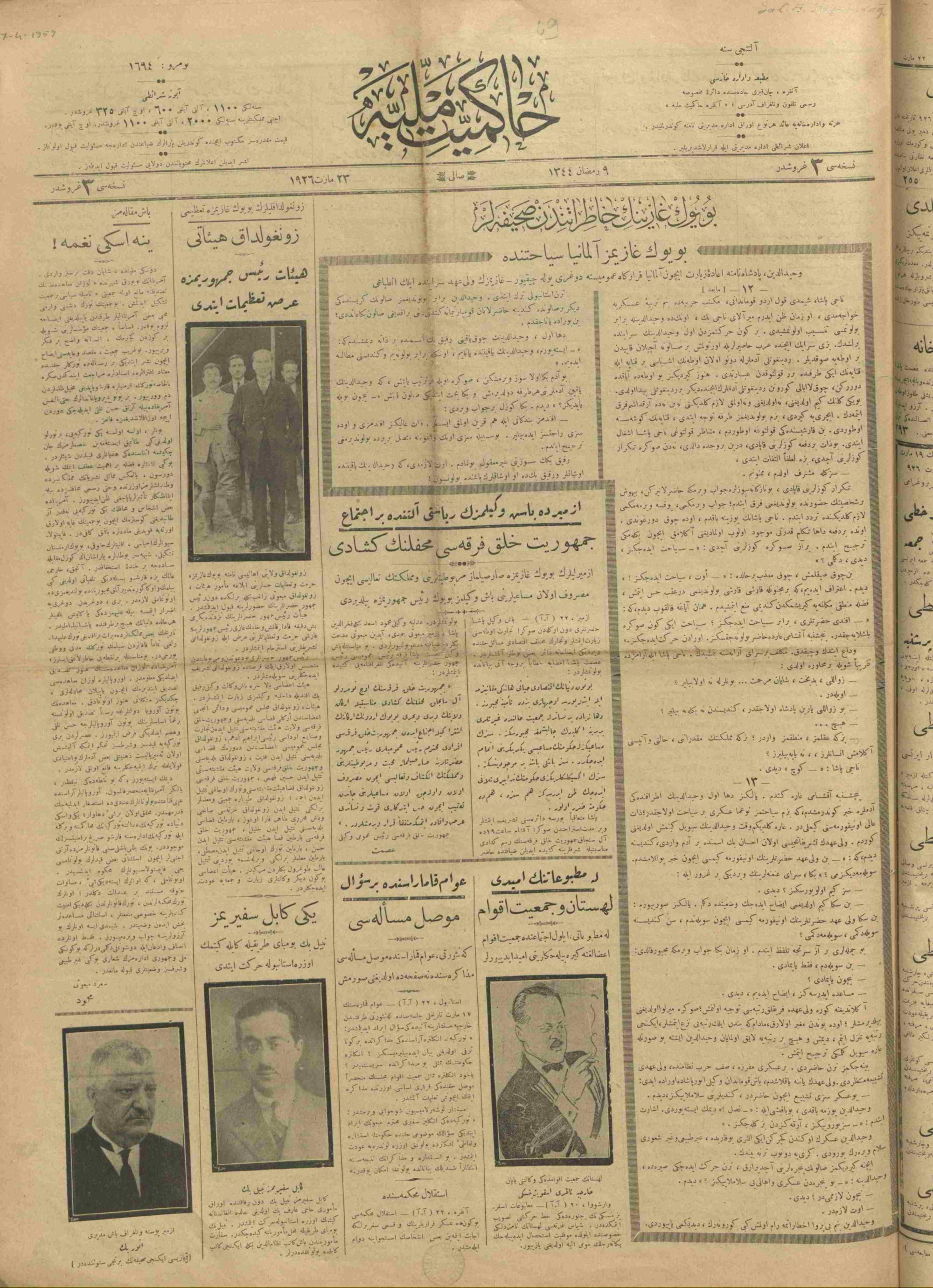 23 Mart 1926 Tarihli Hakimiyet-i Milliye Gazetesi Sayfa 1