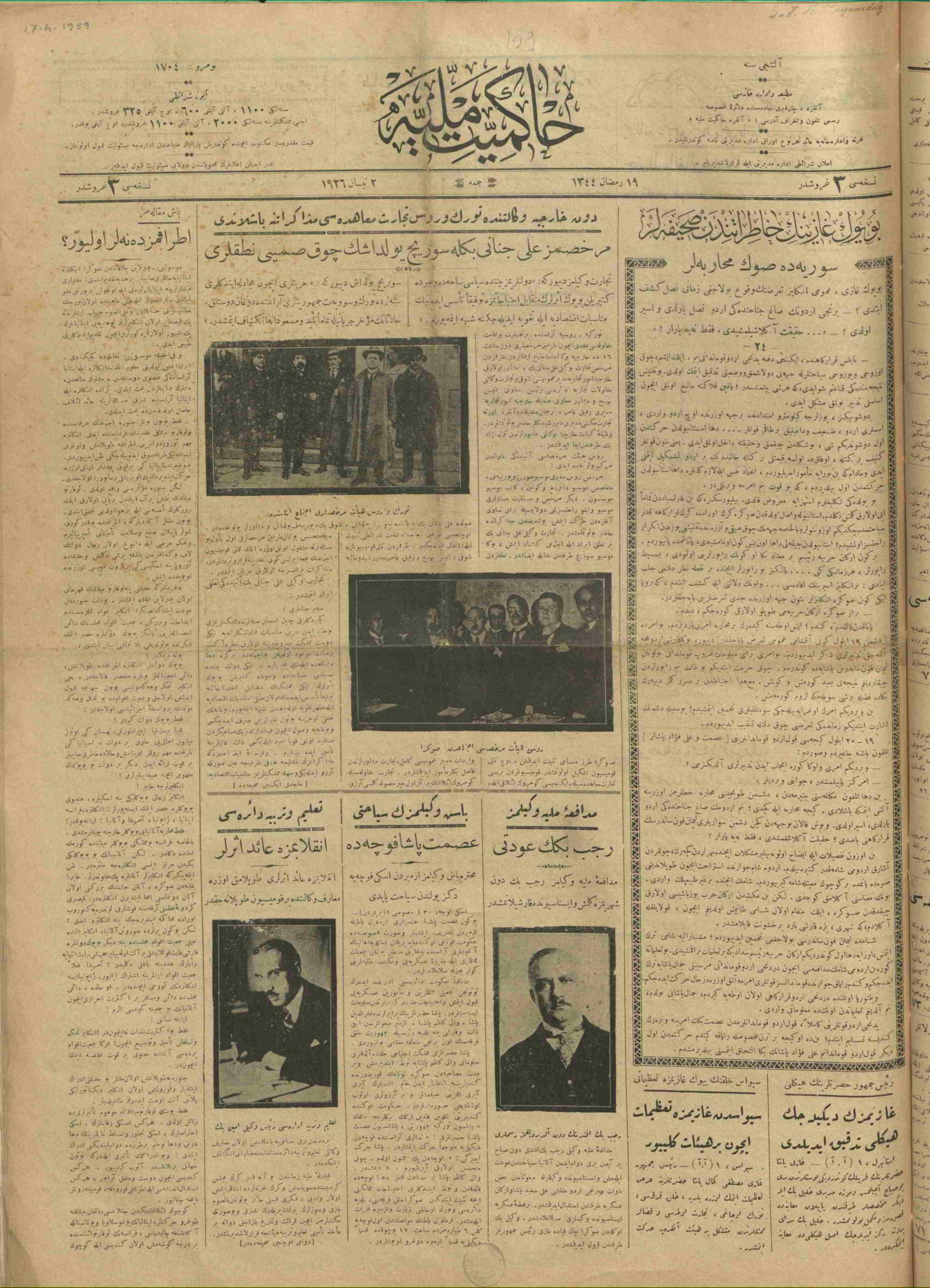 2 Nisan 1926 Tarihli Hakimiyet-i Milliye Gazetesi Sayfa 1