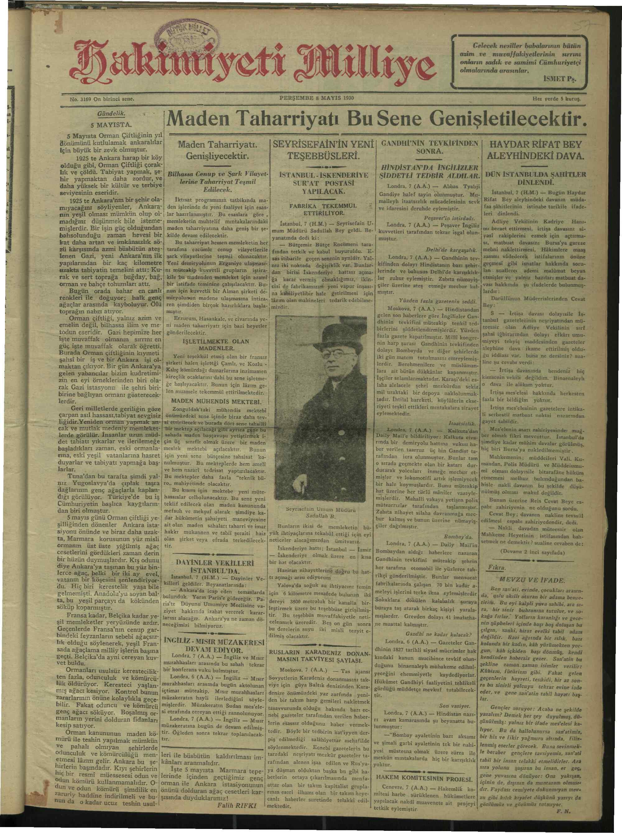 8 Mayıs 1930 tarihli Hakimiyet-i Milliye Gazetesi Sayfa 1
