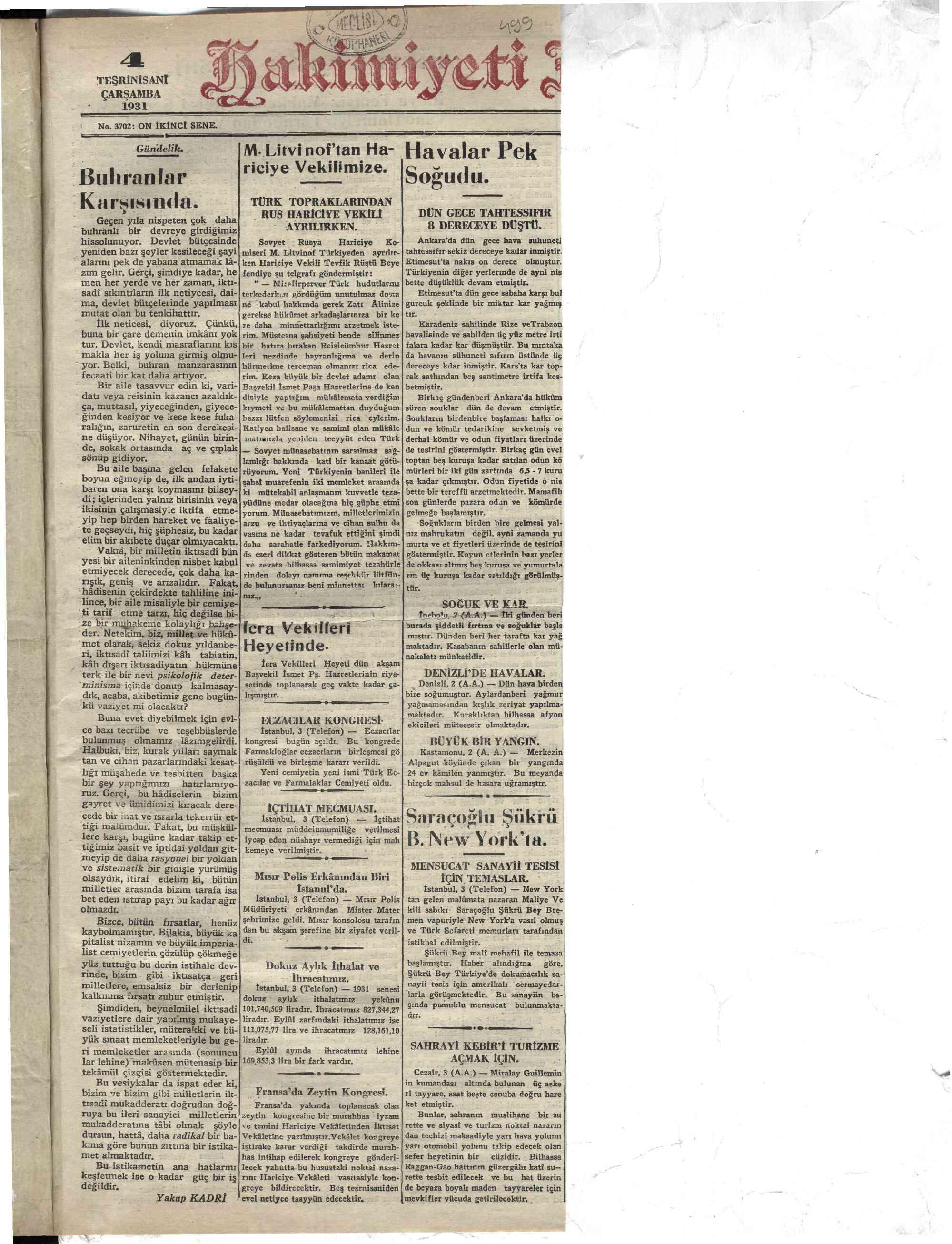 4 Kasım 1931 tarihli Hakimiyet-i Milliye Gazetesi Sayfa 1