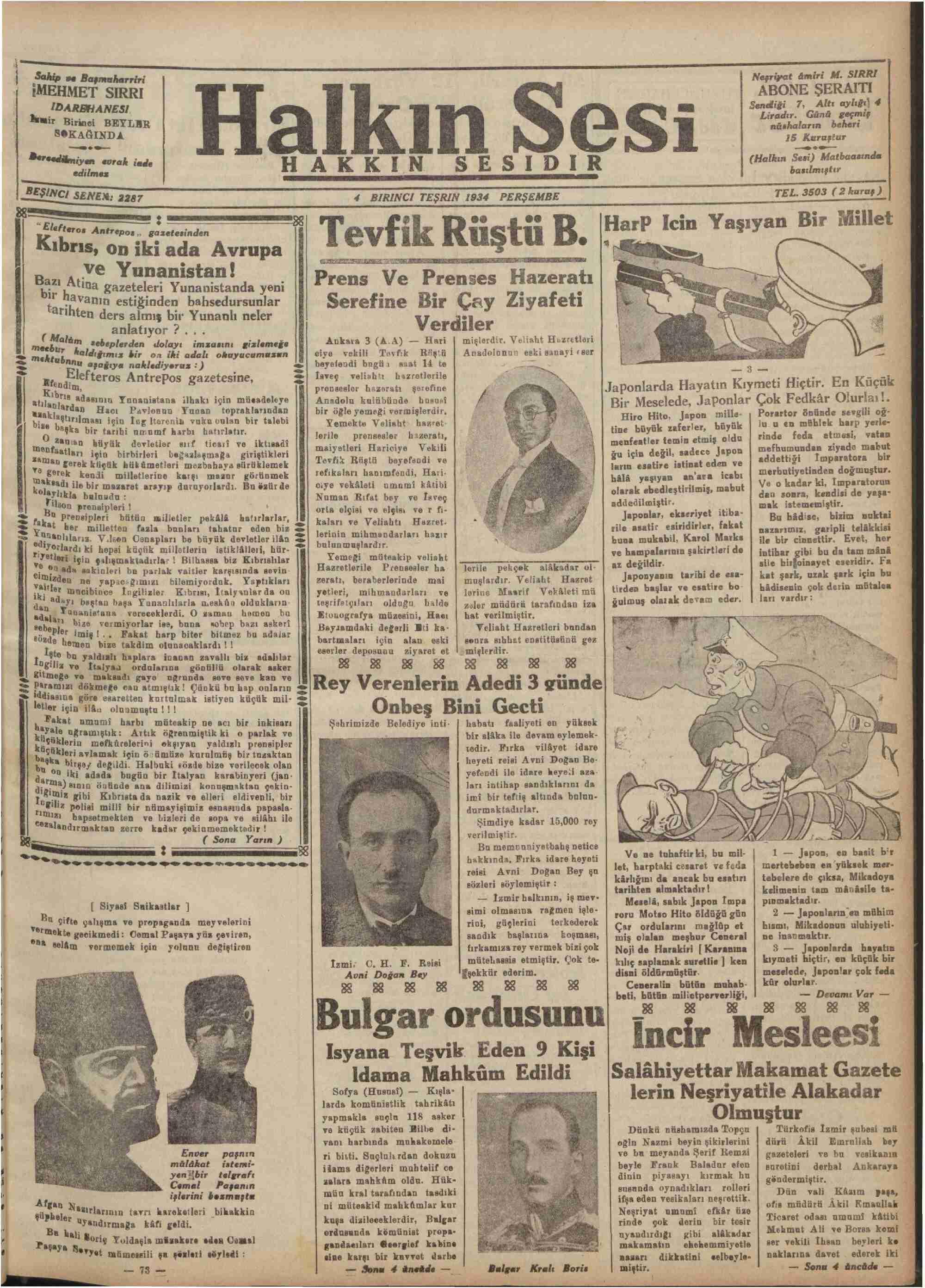 4 Ekim 1934 Tarihli Halkın Sesi Gazetesi Sayfa 1