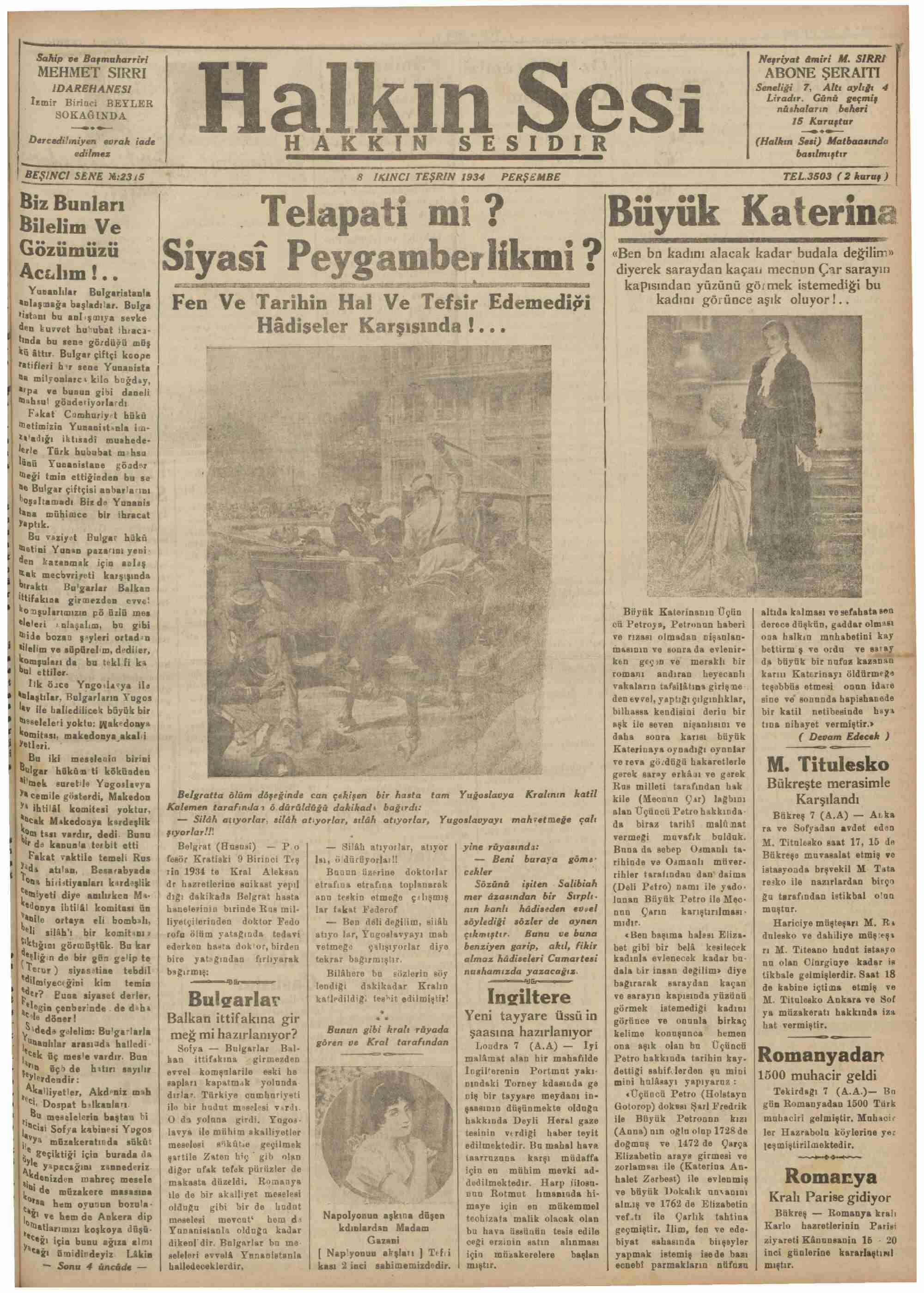 8 Kasım 1934 Tarihli Halkın Sesi Dergisi Sayfa 1