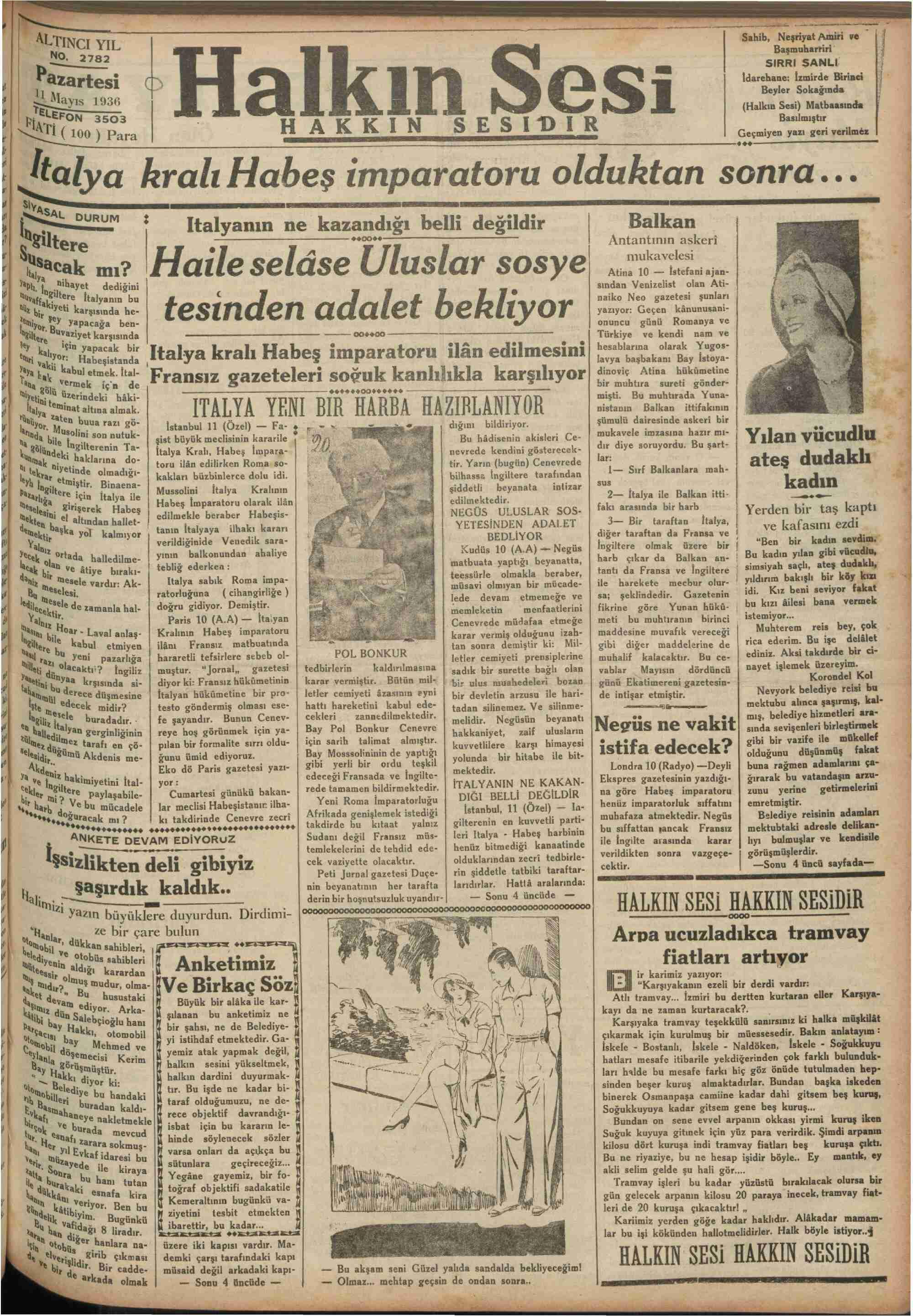 11 Mayıs 1936 Tarihli Halkın Sesi Gazetesi Sayfa 1