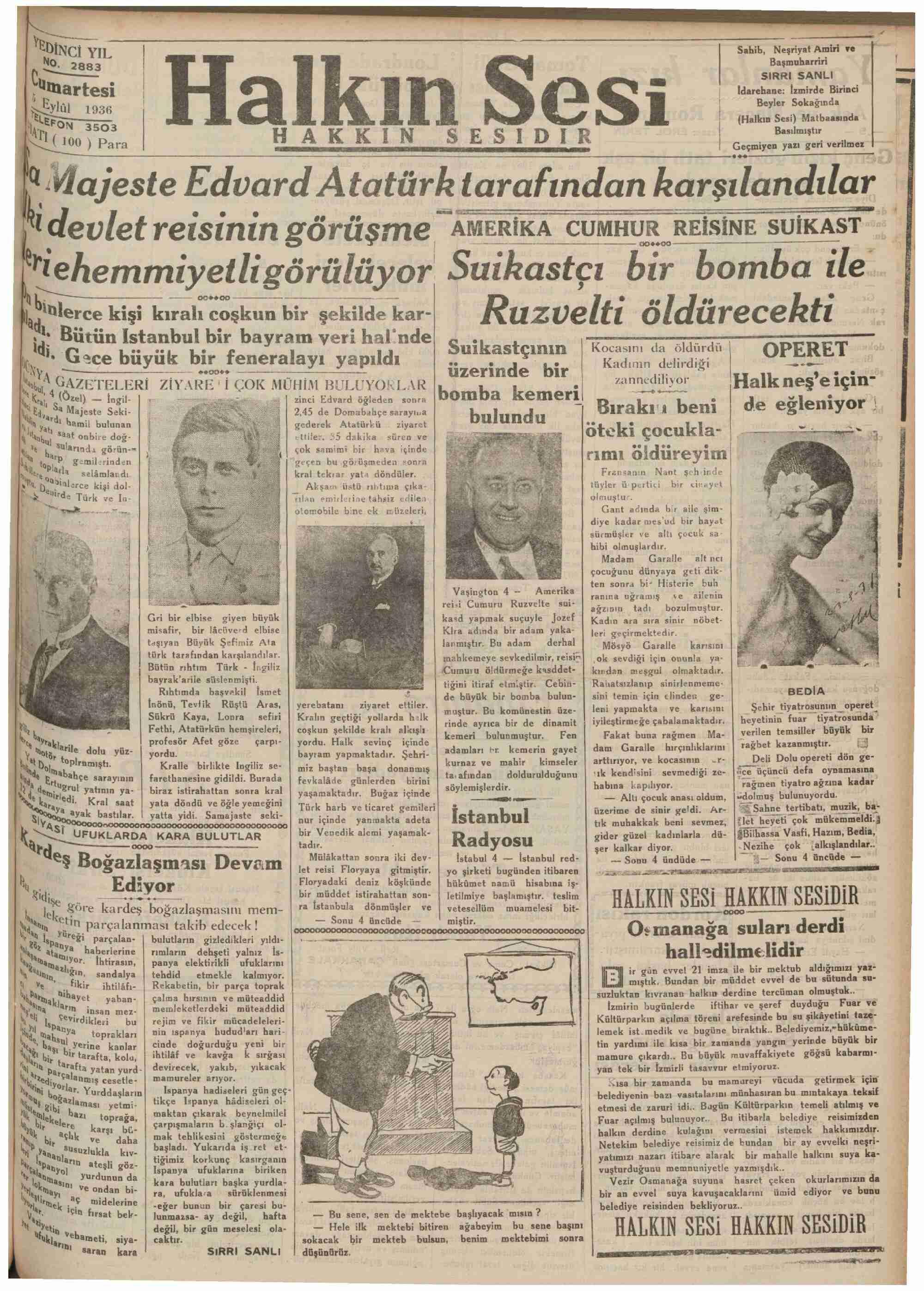 5 Eylül 1936 Tarihli Halkın Sesi Gazetesi Sayfa 1