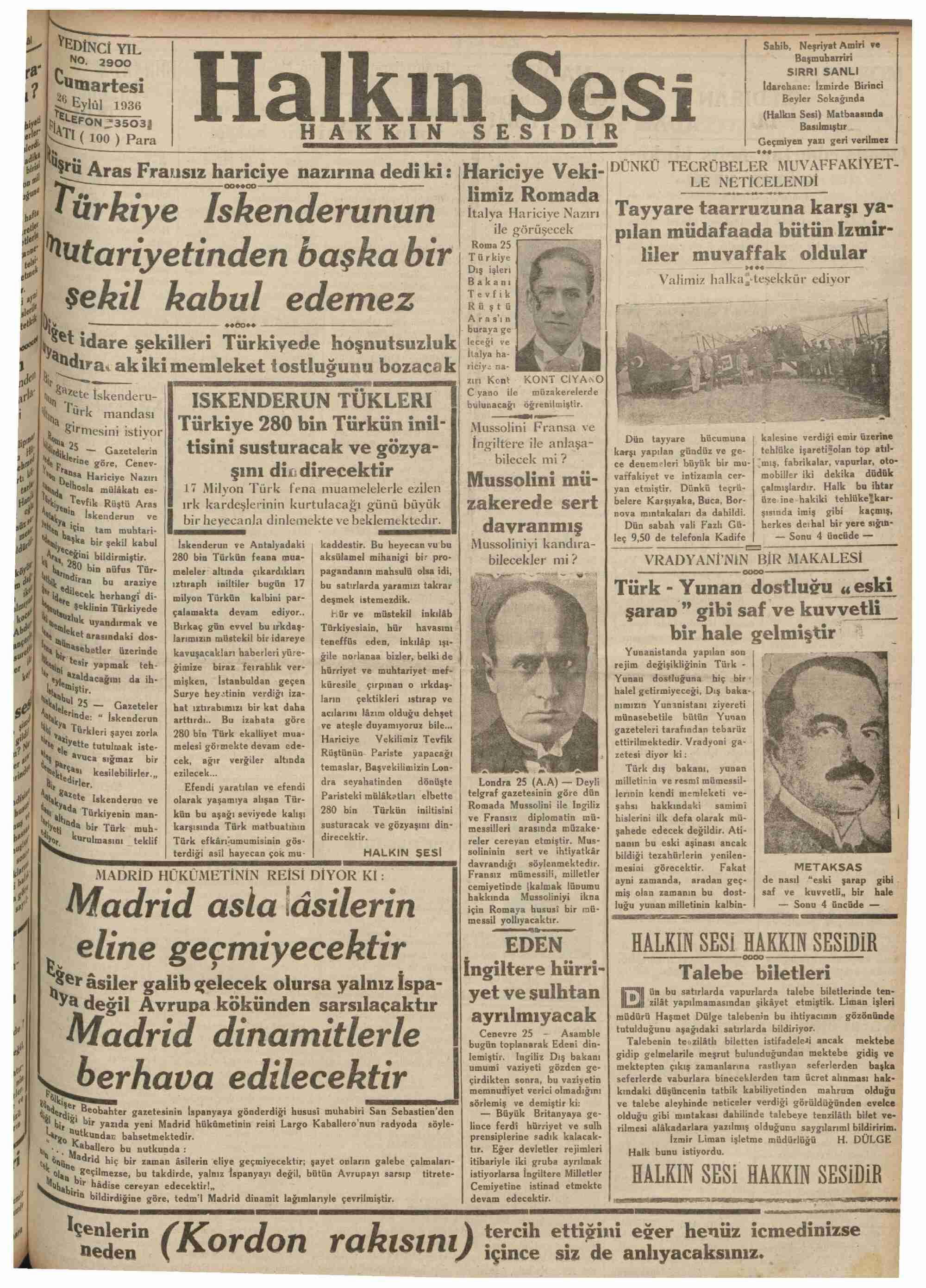 26 Eylül 1936 Tarihli Halkın Sesi Gazetesi Sayfa 1