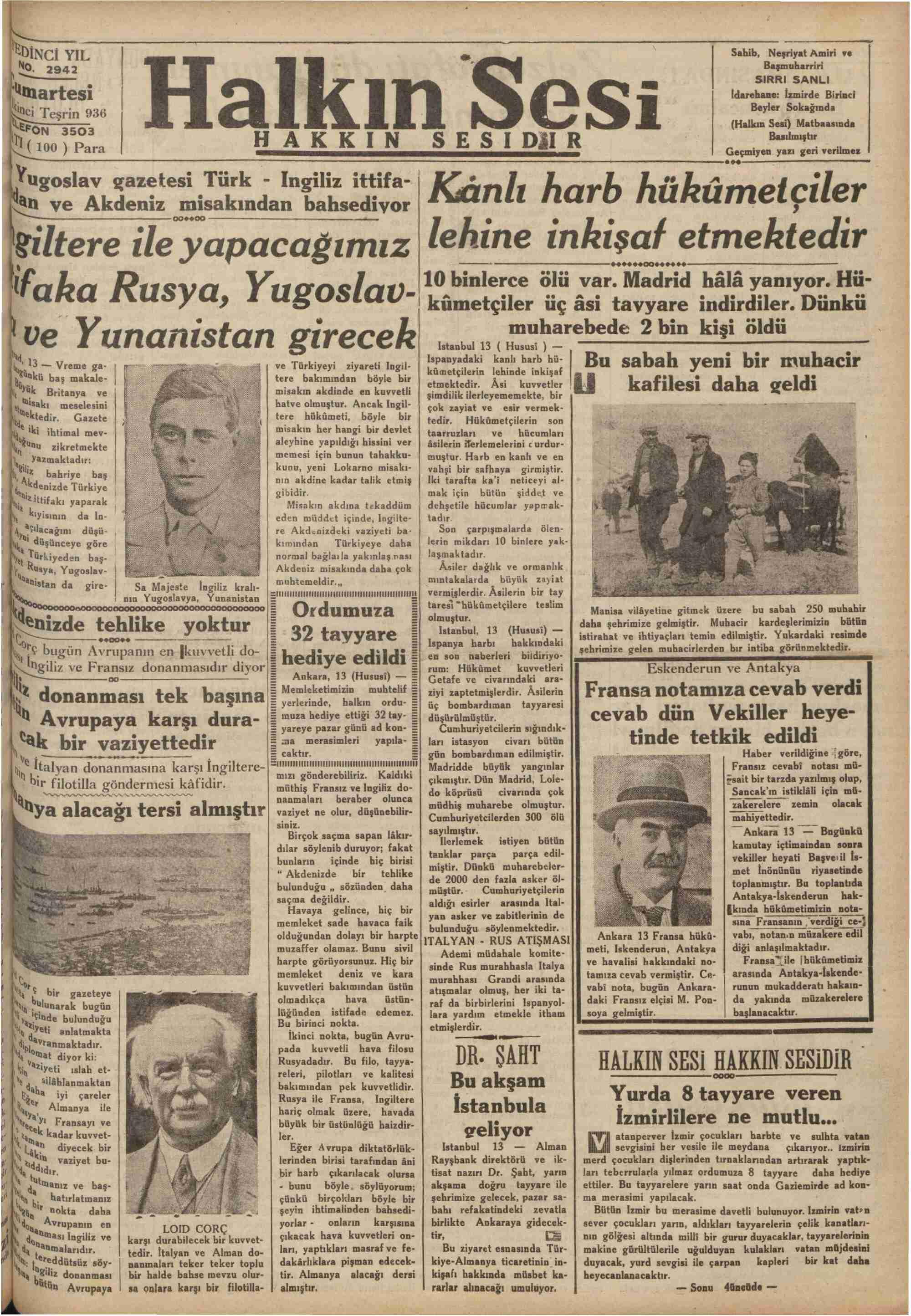 14 Kasım 1936 Tarihli Halkın Sesi Dergisi Sayfa 1