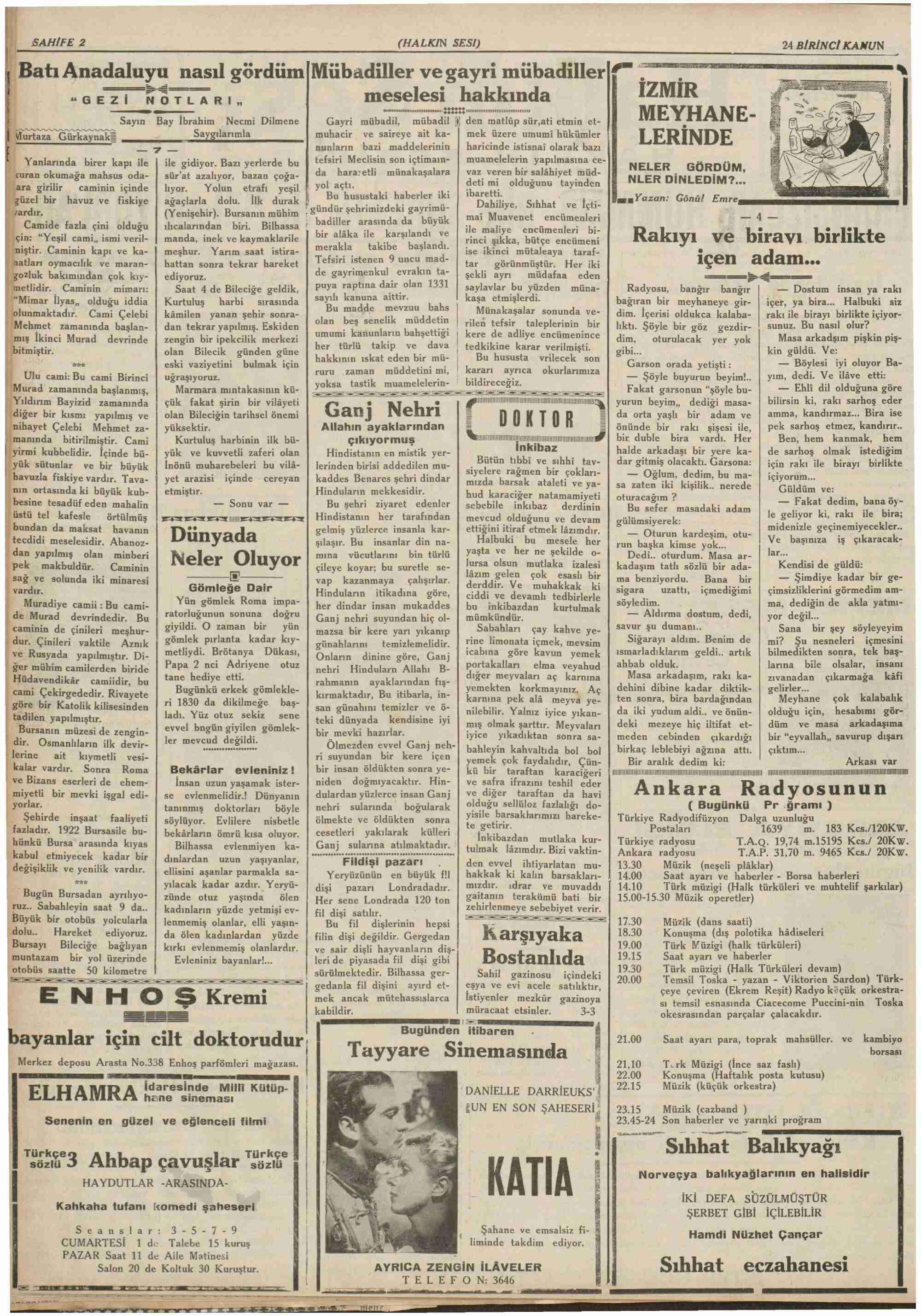 24 Aralık 1938 Tarihli Halkın Sesi Dergisi Sayfa 2