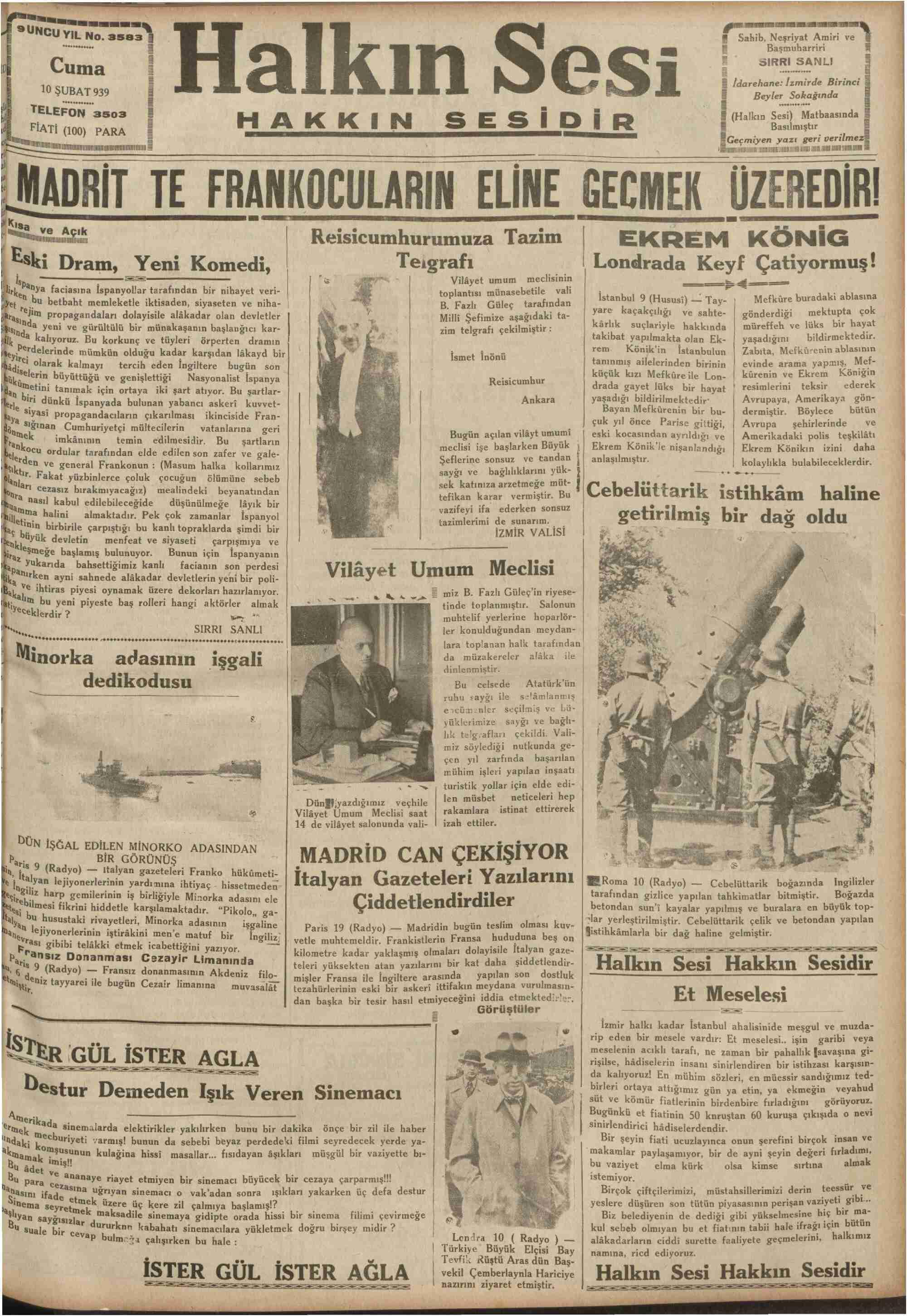 10 Şubat 1939 Tarihli Halkın Sesi Gazetesi Sayfa 1