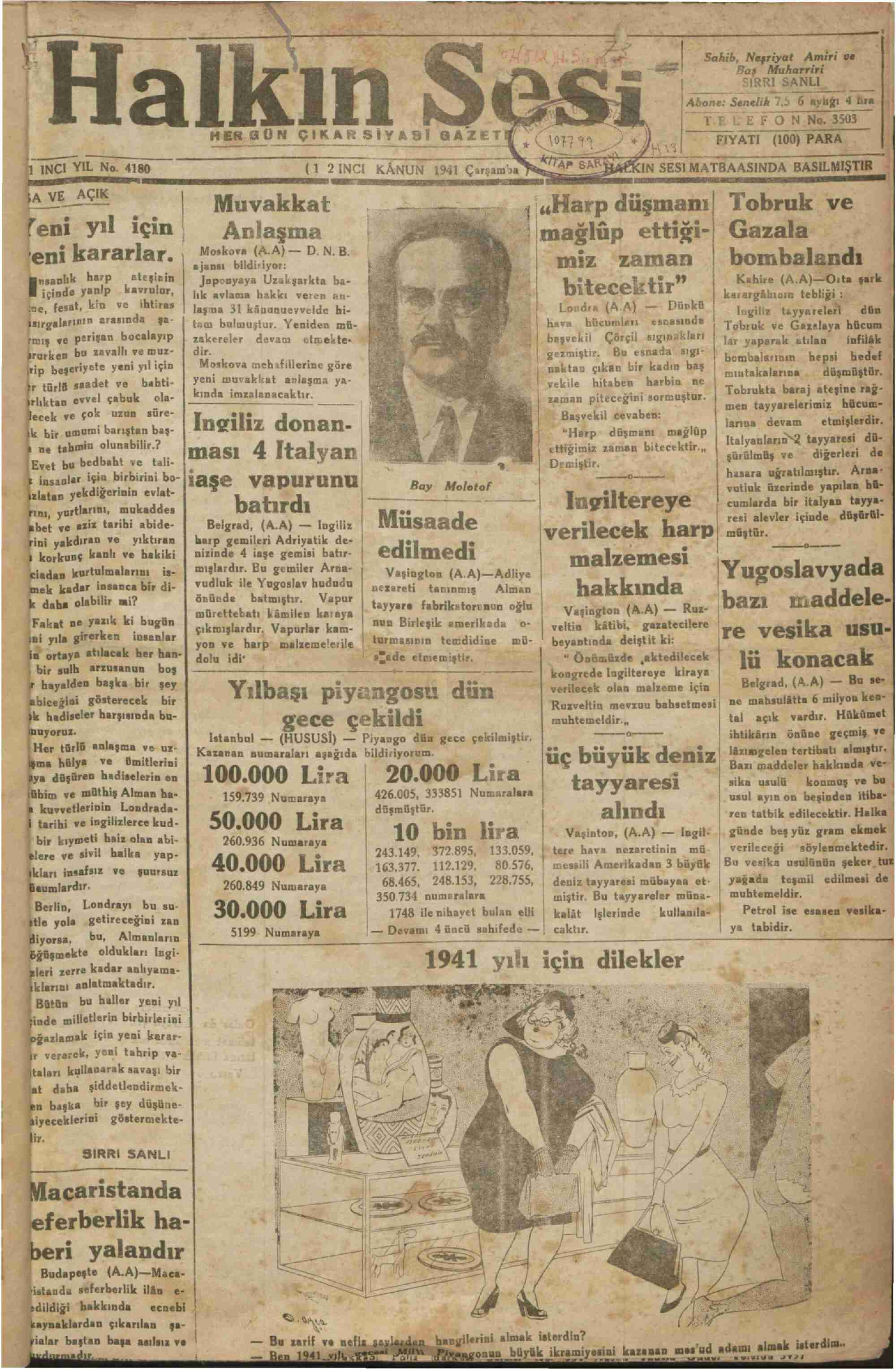 1 Ocak 1941 Tarihli Halkın Sesi Gazetesi Sayfa 1
