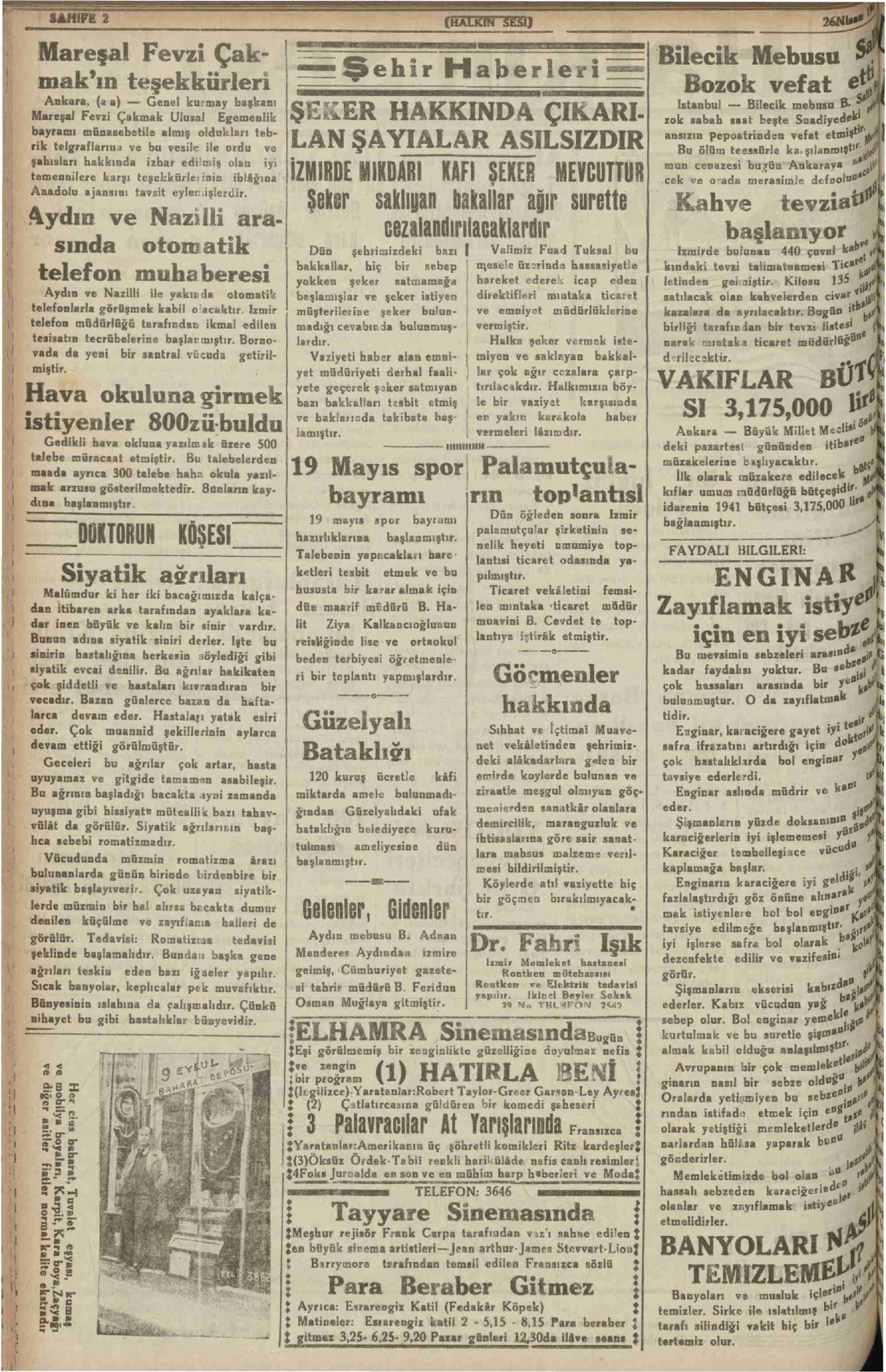 26 Nisan 1941 tarihli Halkın Sesi Gazetesi Sayfa 2