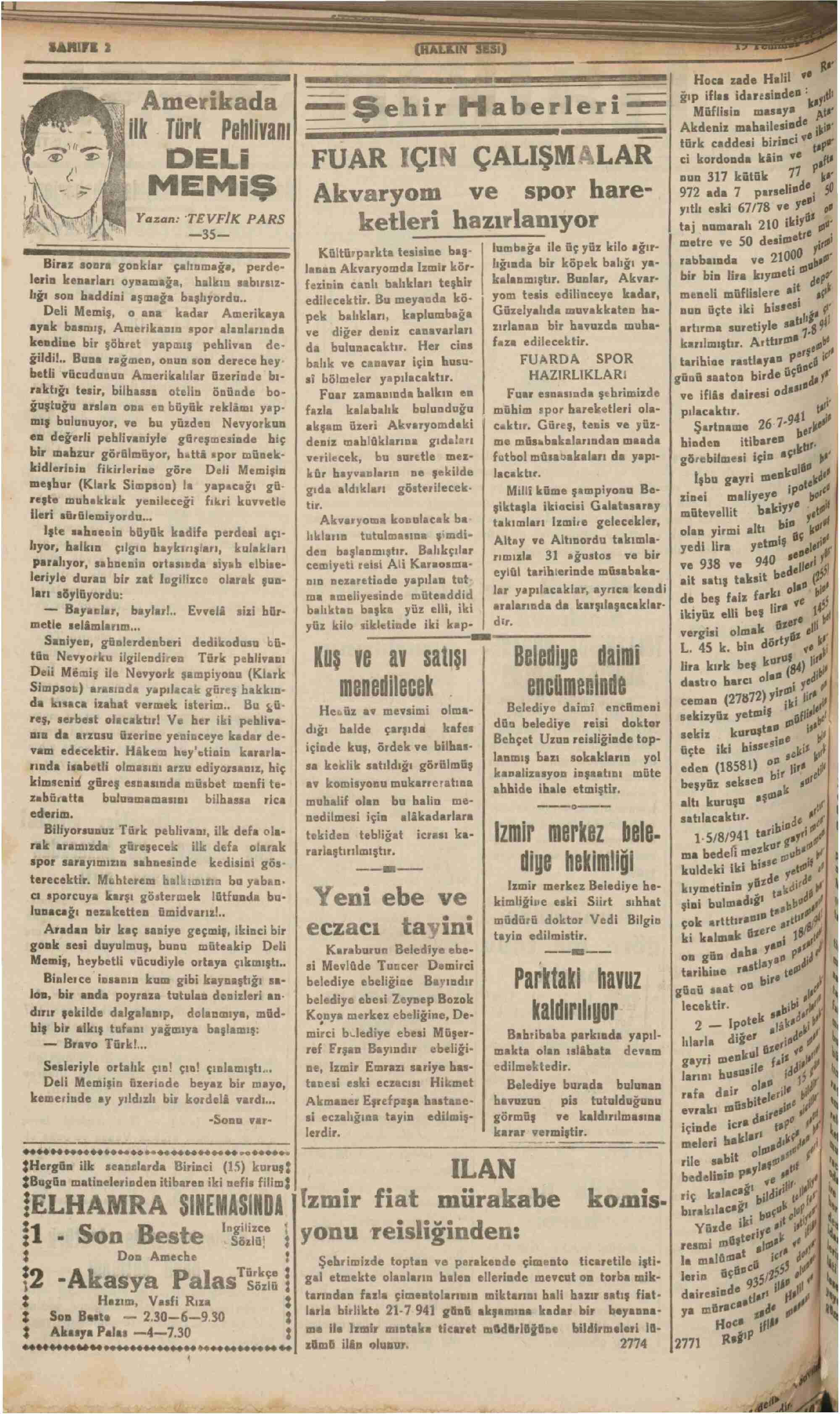 19 Temmuz 1941 Tarihli Halkın Sesi Gazetesi Sayfa 2