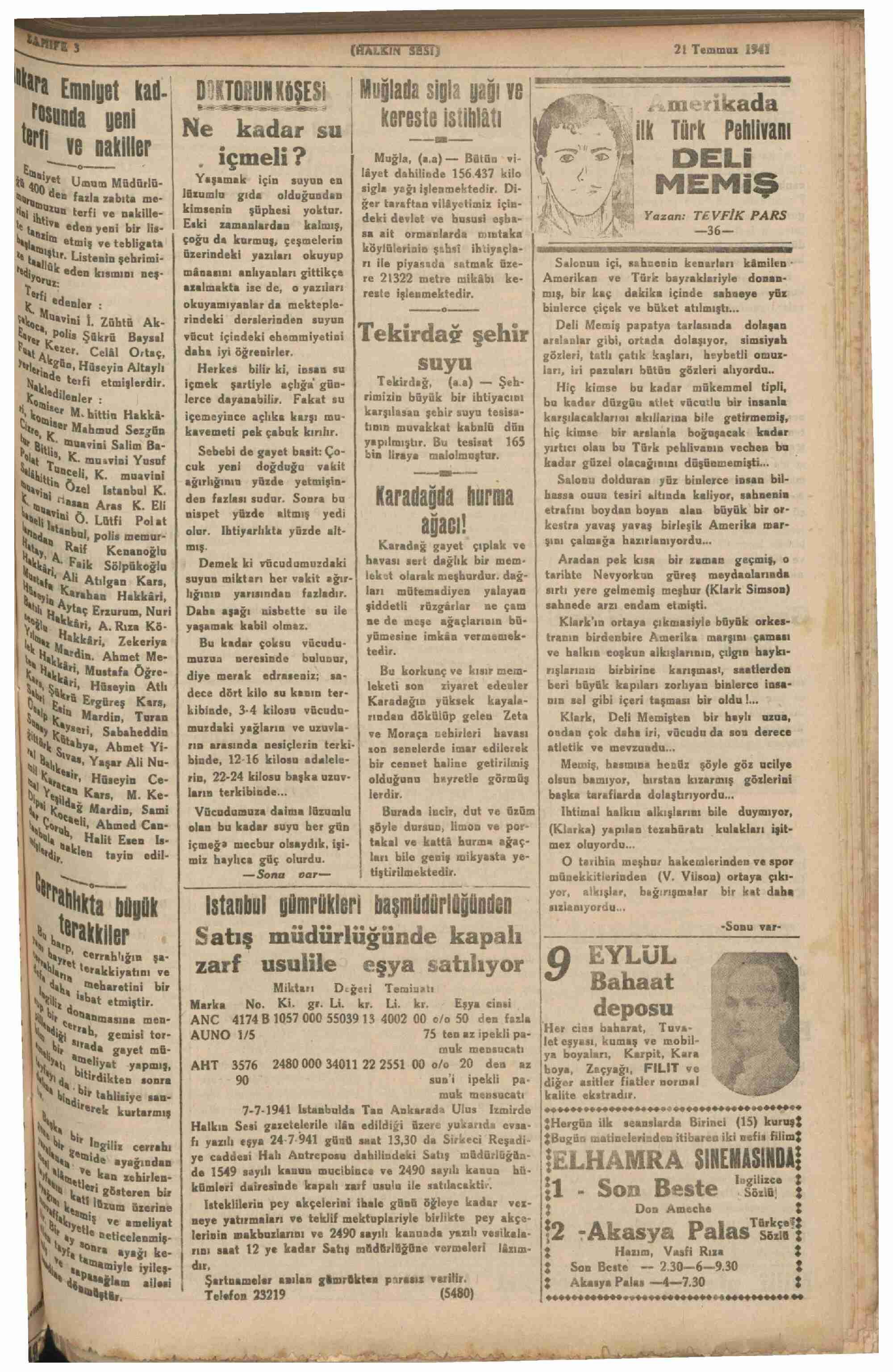 21 Temmuz 1941 Tarihli Halkın Sesi Gazetesi Sayfa 3