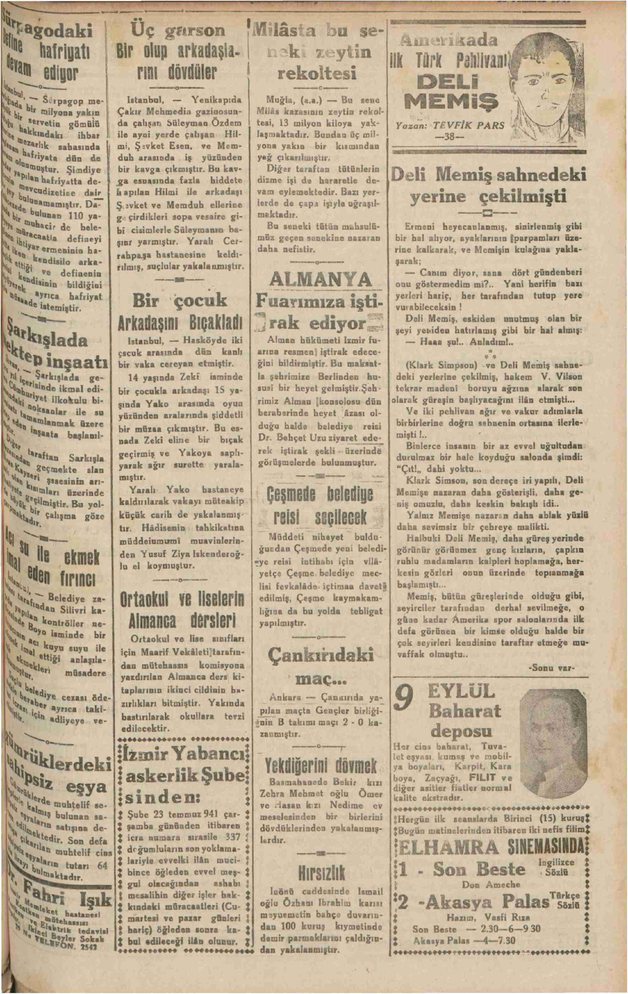 23 Temmuz 1941 Tarihli Halkın Sesi Gazetesi Sayfa 3