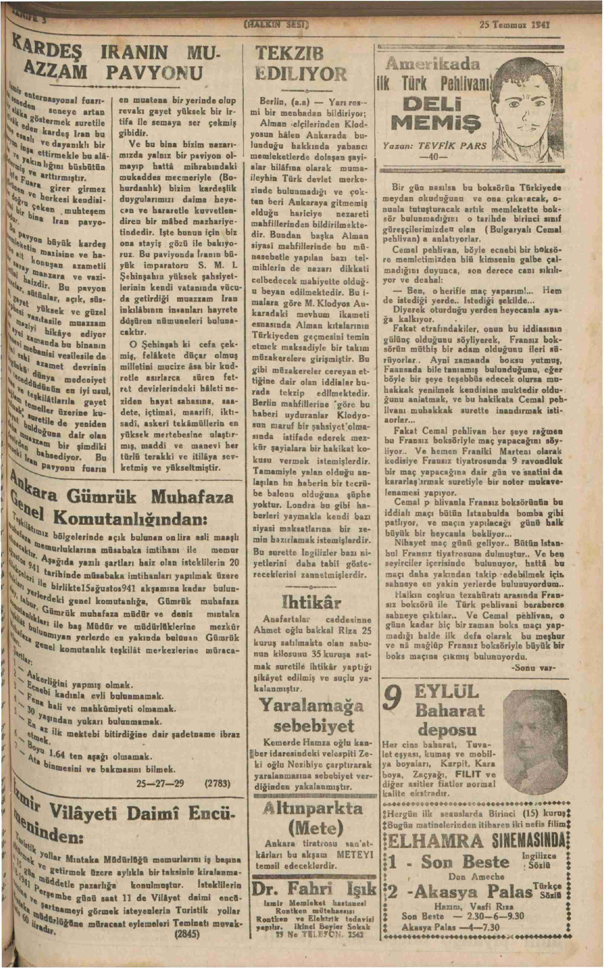 25 Temmuz 1941 Tarihli Halkın Sesi Gazetesi Sayfa 3