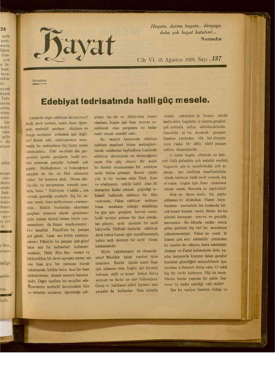 15 Ağustos 1929 tarihli Hayat Dergisi Sayfa 1
