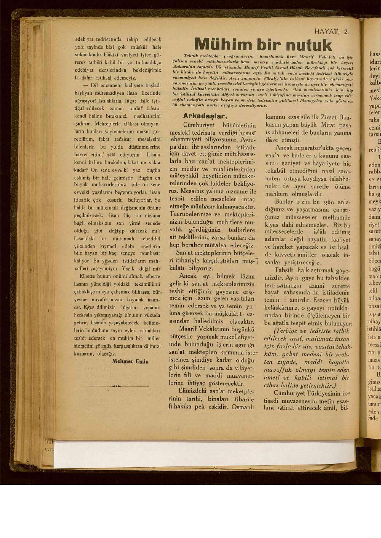 15 Ağustos 1929 tarihli Hayat Dergisi Sayfa 2