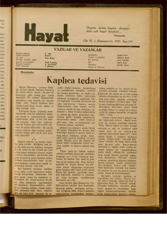 1 Aralık 1929 tarihli Hayat Dergisi Sayfa 1
