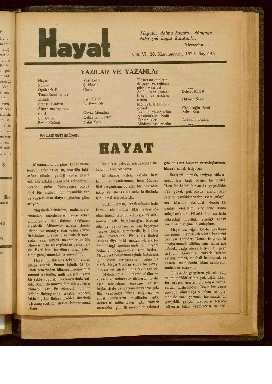 30 Aralık 1929 tarihli Hayat Dergisi Sayfa 1