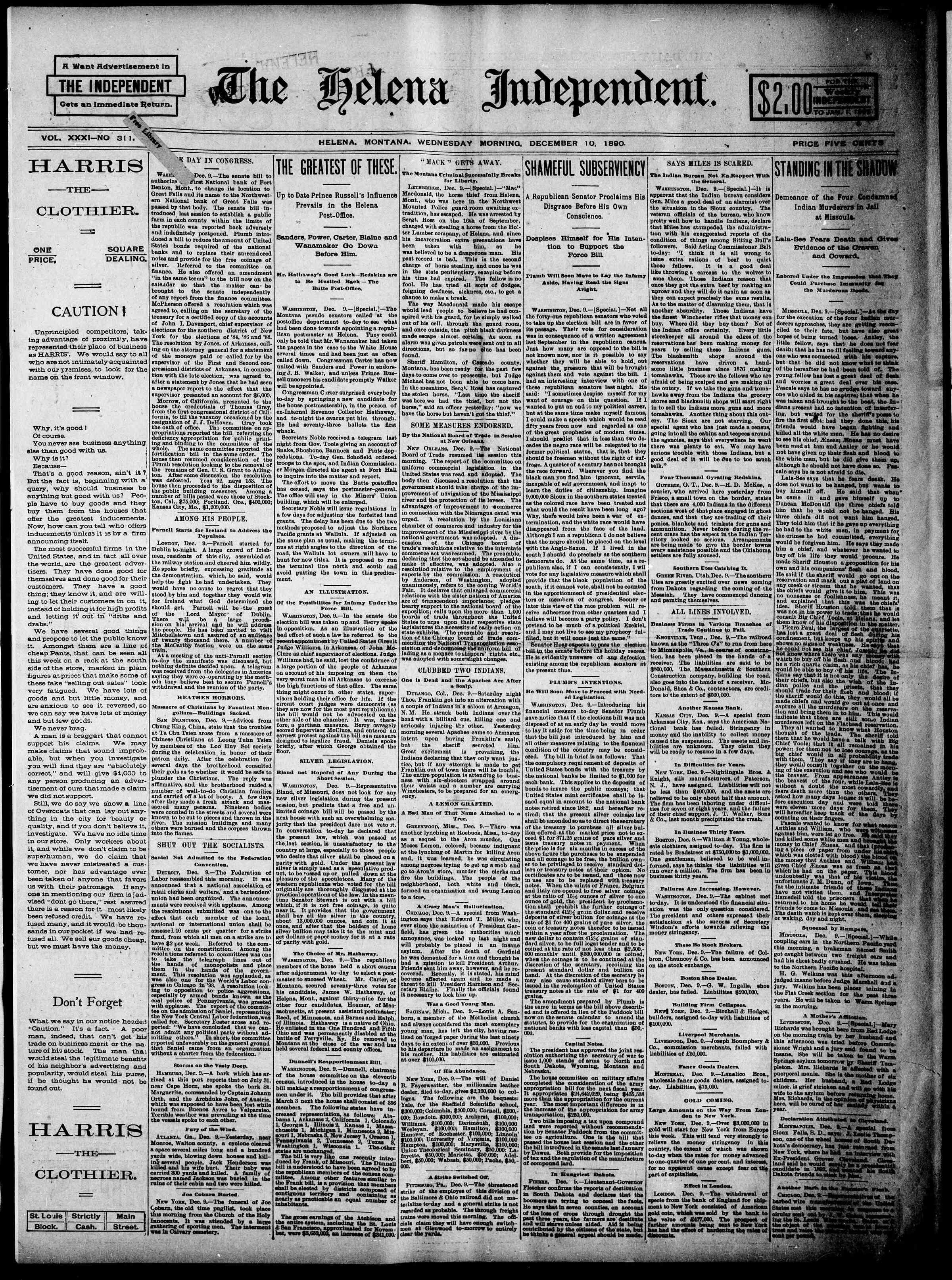 10 Aralık 1890 Tarihli The Helena Independent Gazetesi Sayfa 1