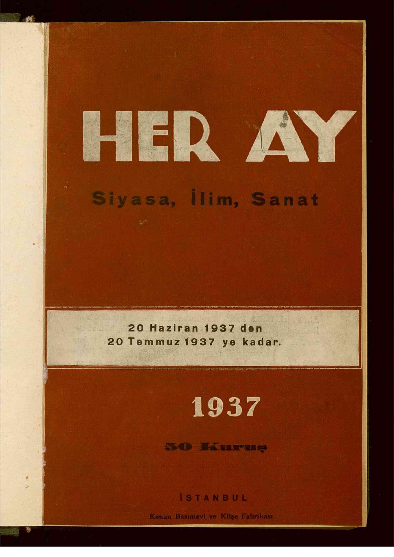 20 Haziran 1937 tarihli Her Ay Dergisi Sayfa 1