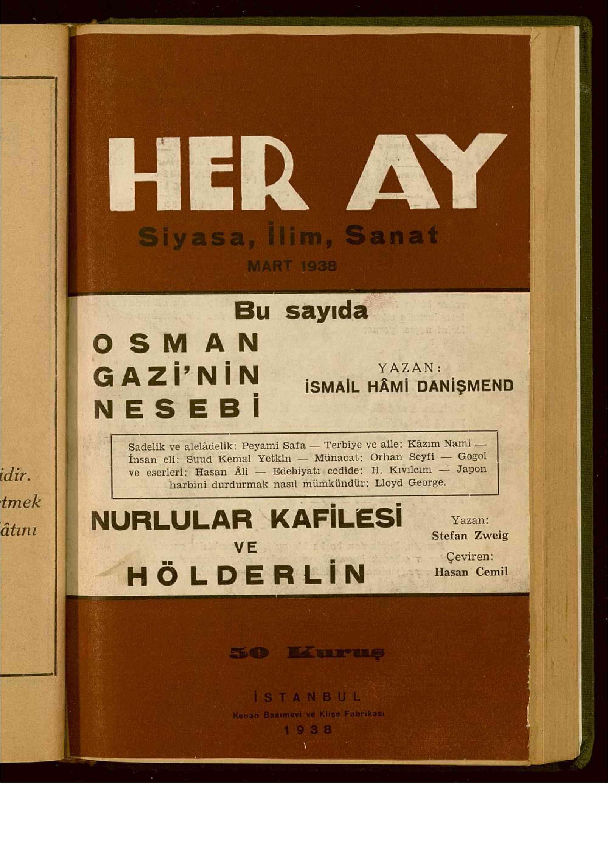 7 Mart 1938 tarihli Her Ay Dergisi Sayfa 1