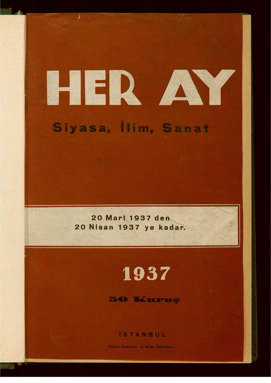 20 Mart 1939 tarihli Her Ay Dergisi Sayfa 1