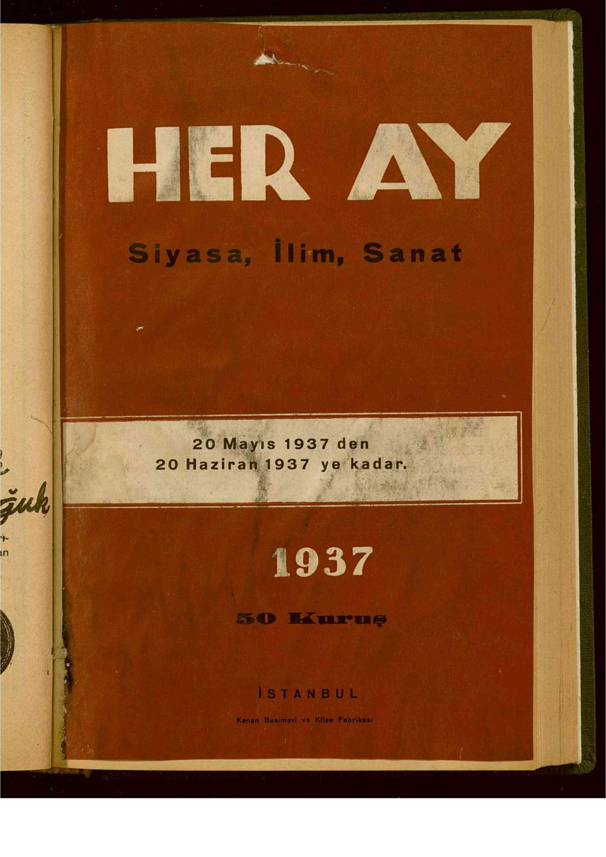 20 Mayıs 1939 tarihli Her Ay Dergisi Sayfa 1