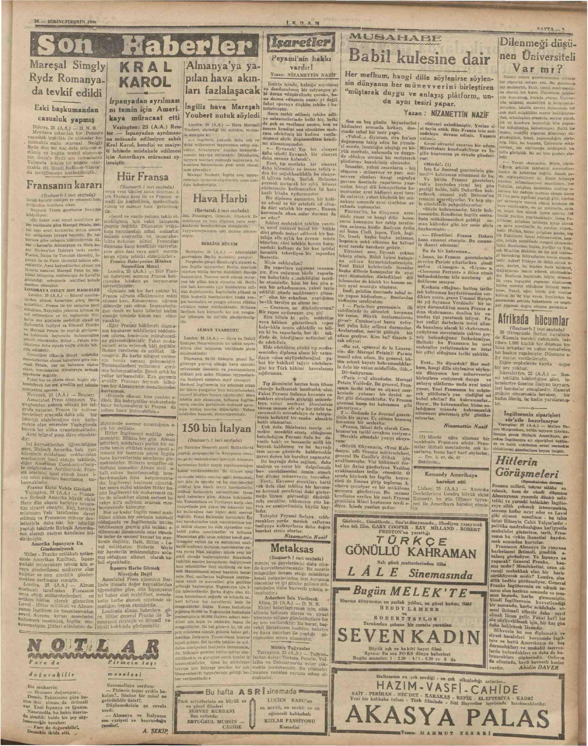 26 Ekim 1940 Tarihli İkdam (Sabah Postası) Gazetesi Sayfa 3