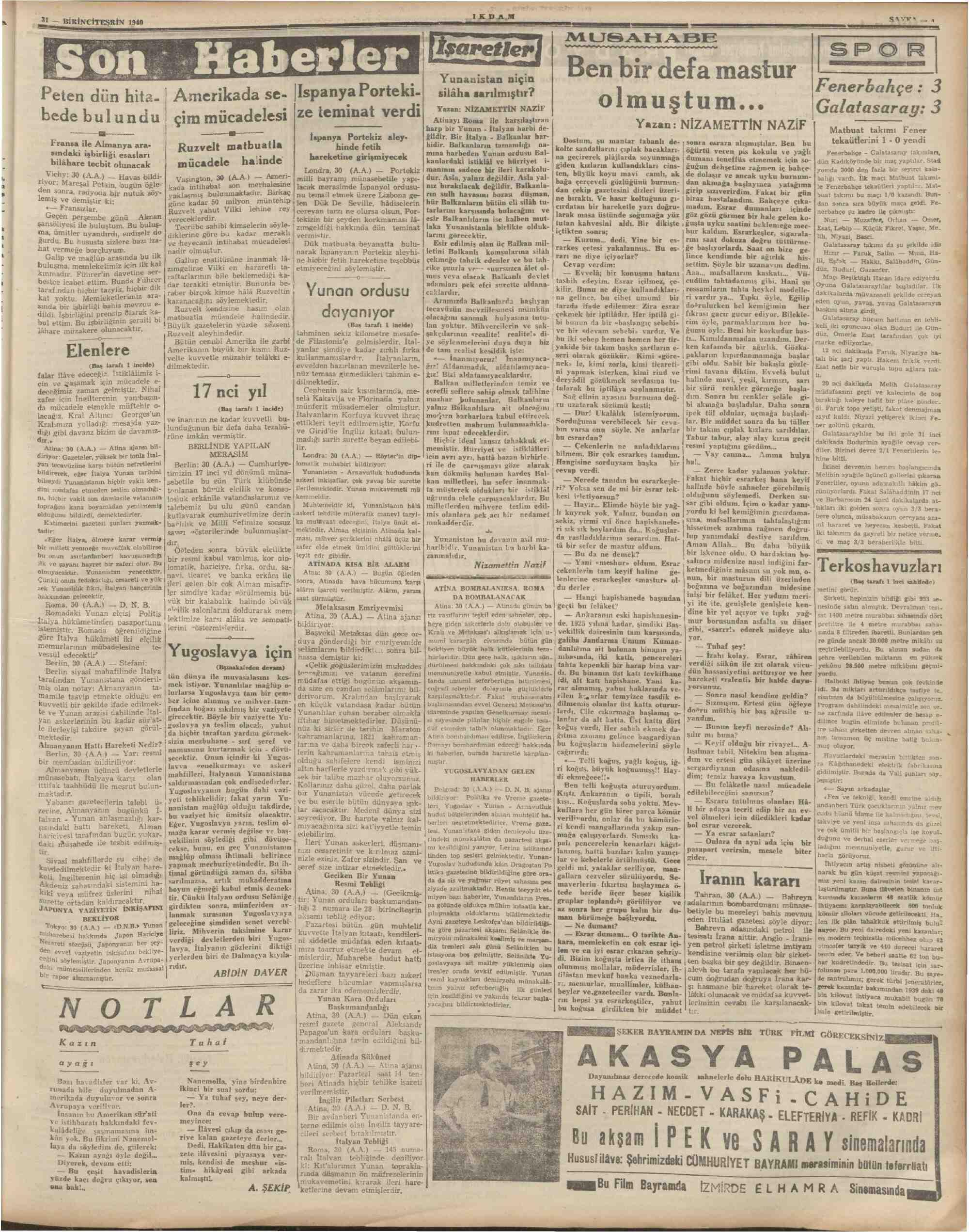 31 Ekim 1940 Tarihli İkdam (Sabah Postası) Gazetesi Sayfa 3
