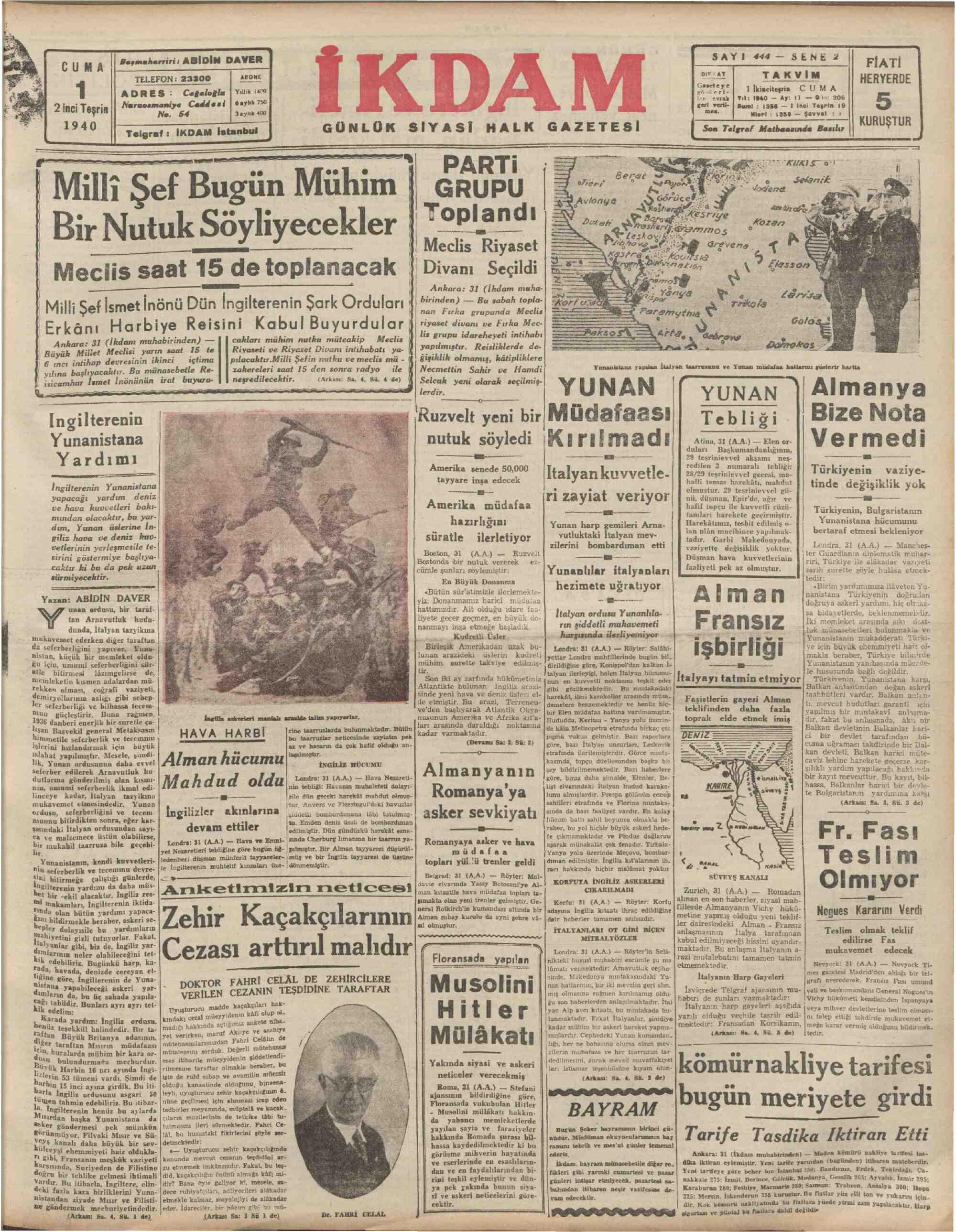 1 Kasım 1940 Tarihli İkdam (Sabah Postası) Gazetesi Sayfa 1