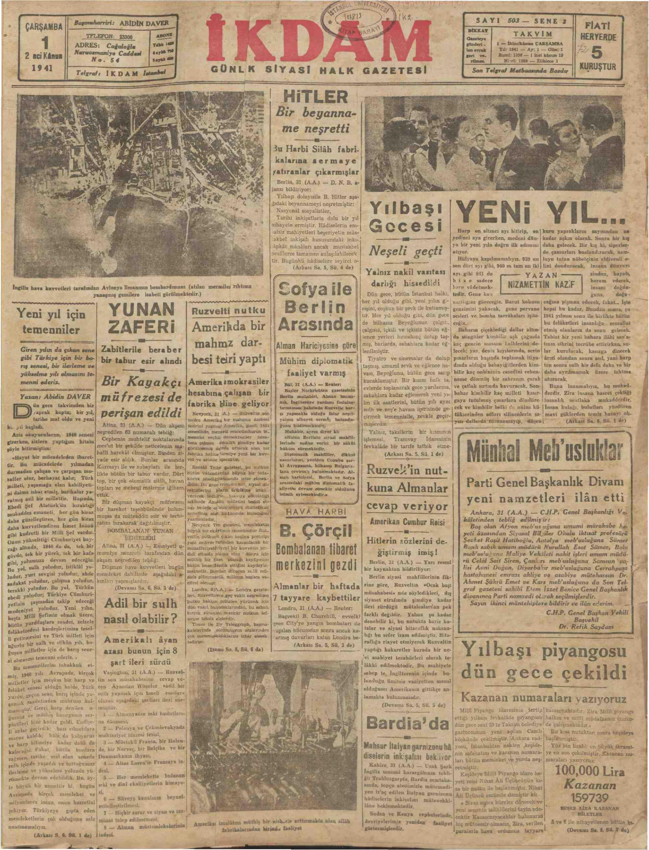 1 Ocak 1941 Tarihli İkdam (Sabah Postası) Gazetesi Sayfa 1