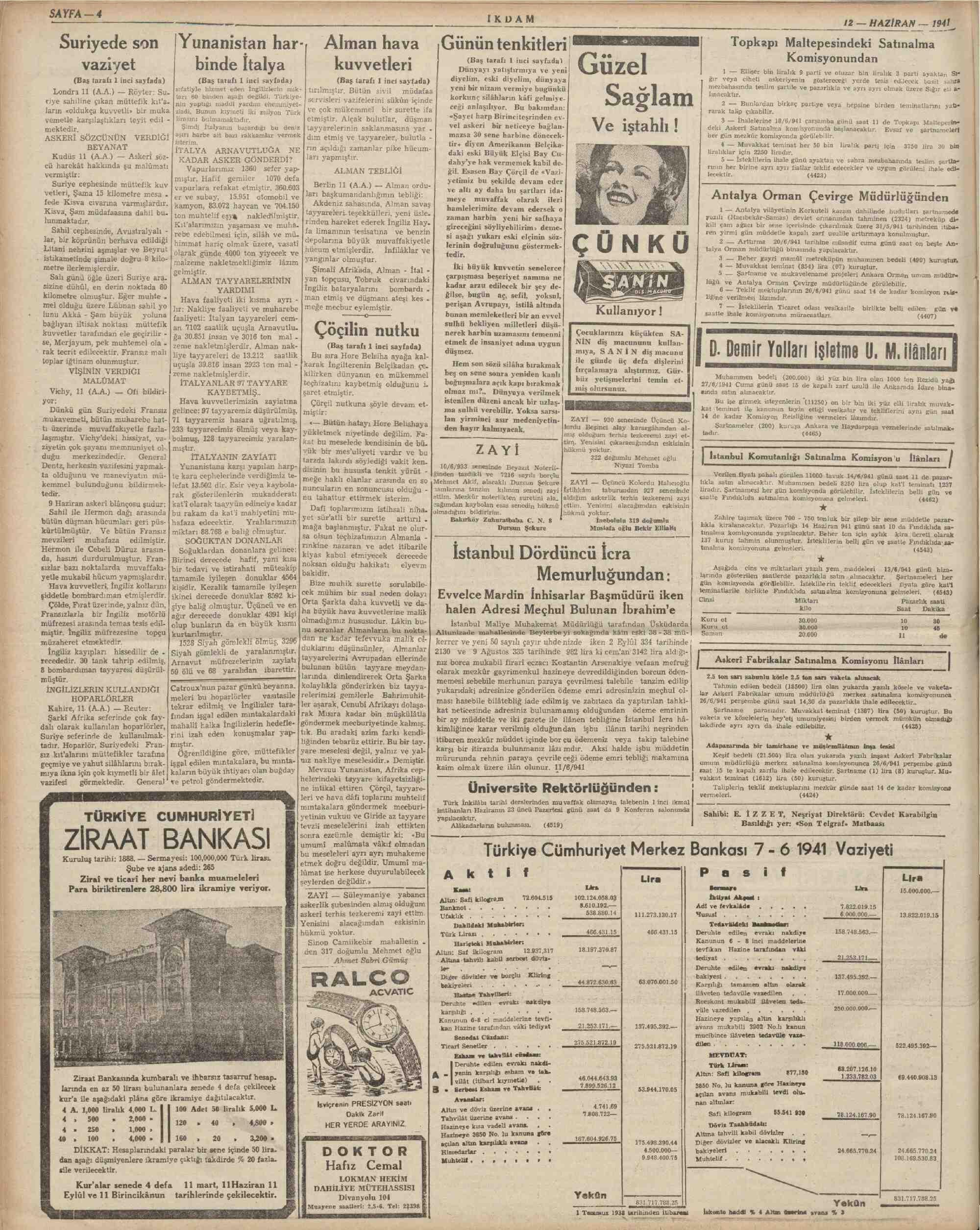 12 Haziran 1941 Tarihli İkdam (Sabah Postası) Dergisi Sayfa 4