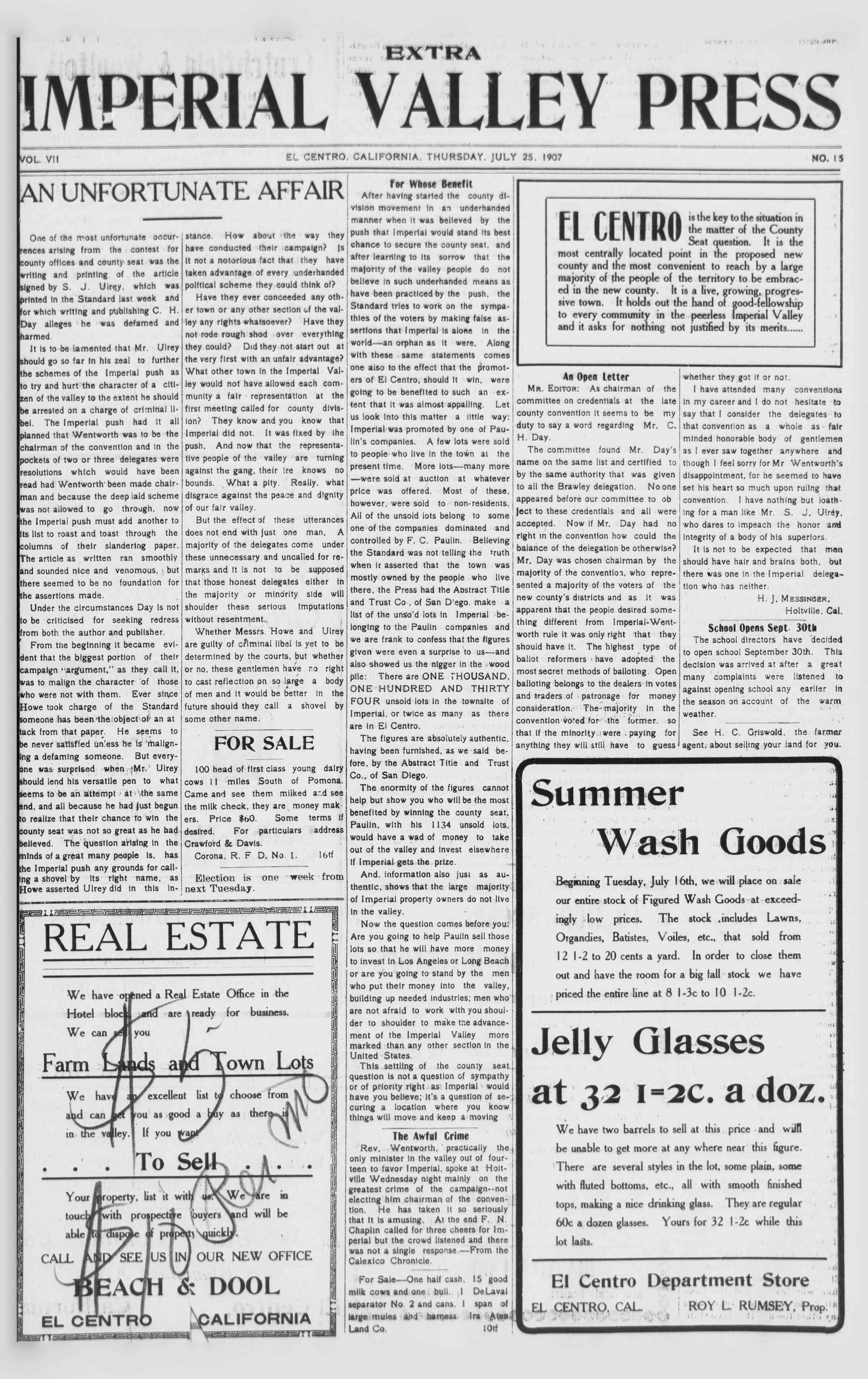 25 Temmuz 1907 Tarihli Imperial Valley Press Dergisi Sayfa 1