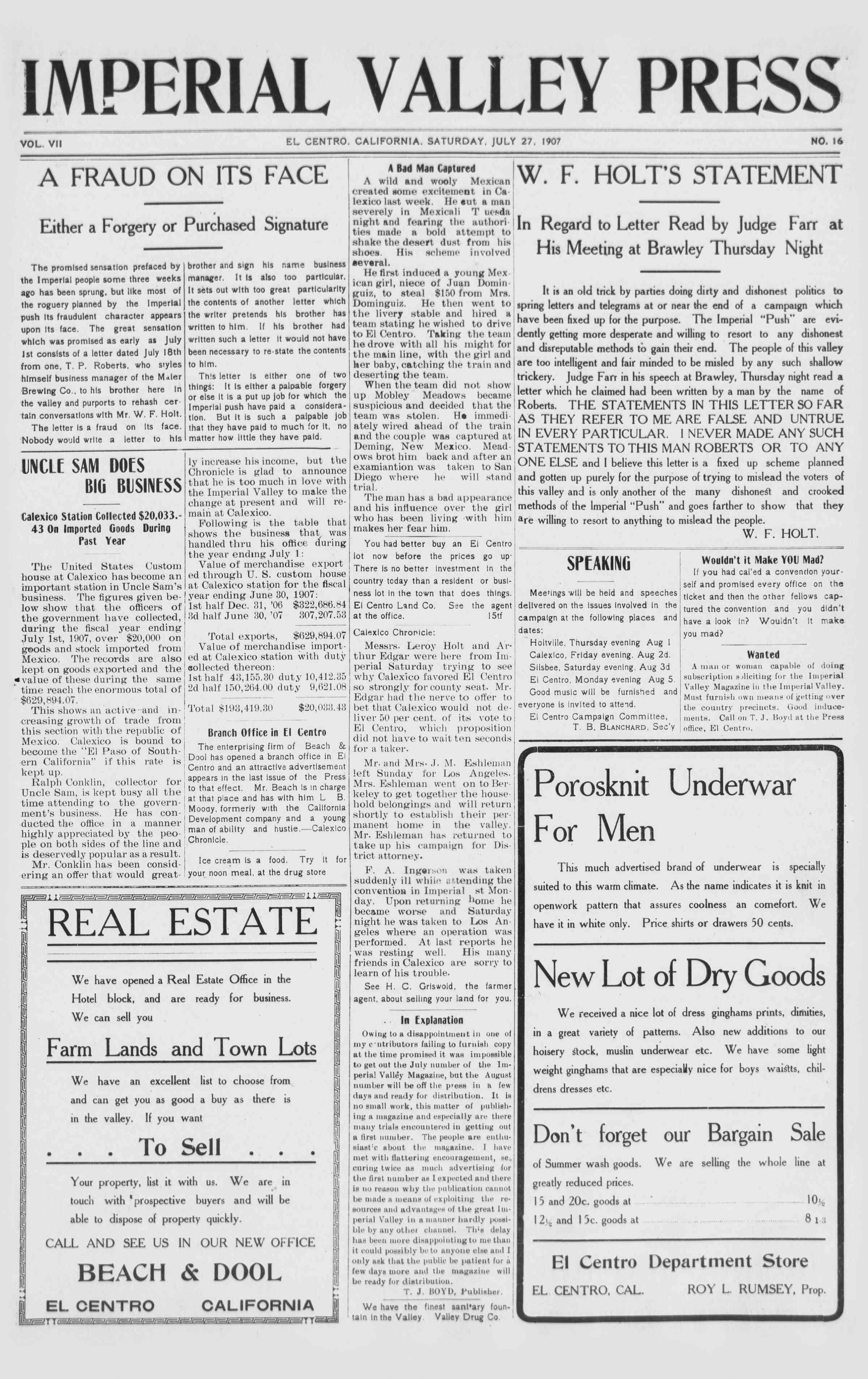 27 Temmuz 1907 Tarihli Imperial Valley Press Dergisi Sayfa 1