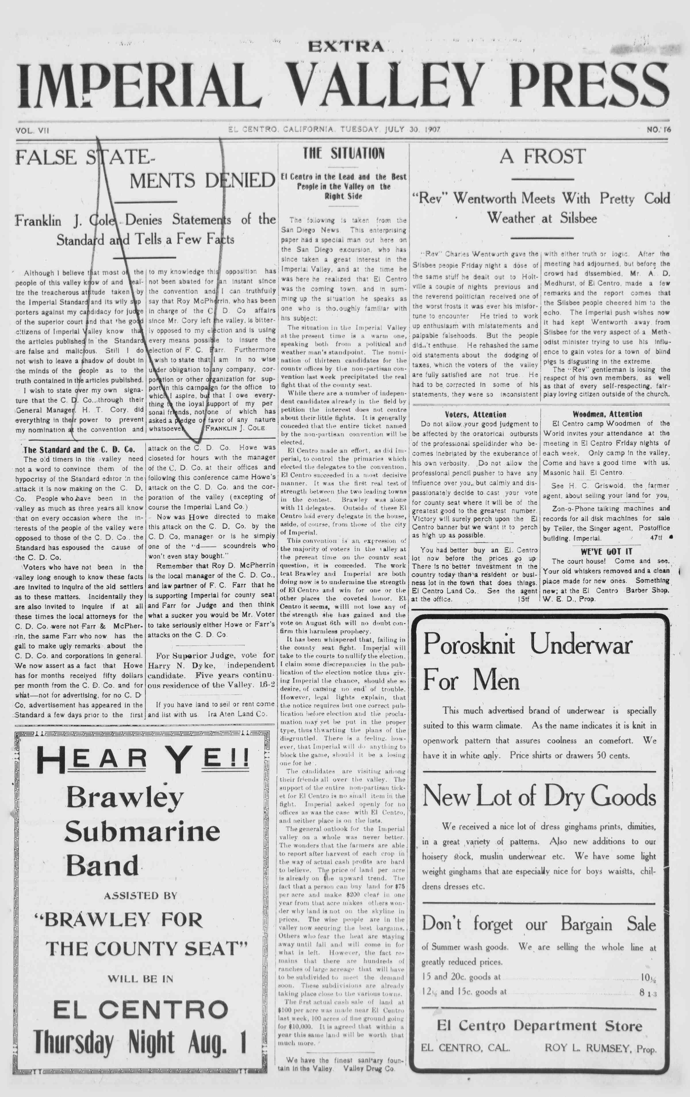 30 Temmuz 1907 Tarihli Imperial Valley Press Dergisi Sayfa 1