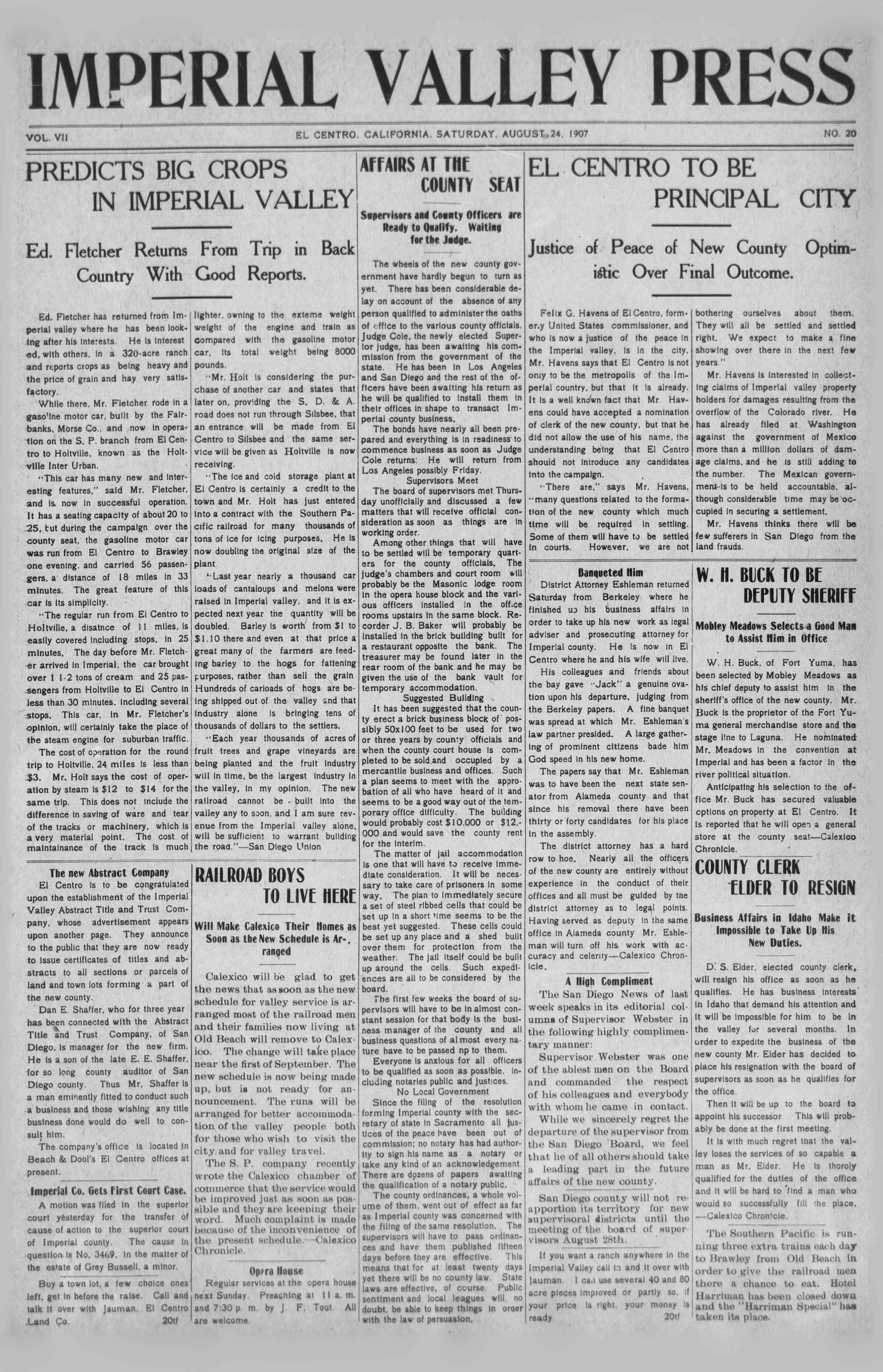 24 Ağustos 1907 Tarihli Imperial Valley Press Dergisi Sayfa 1
