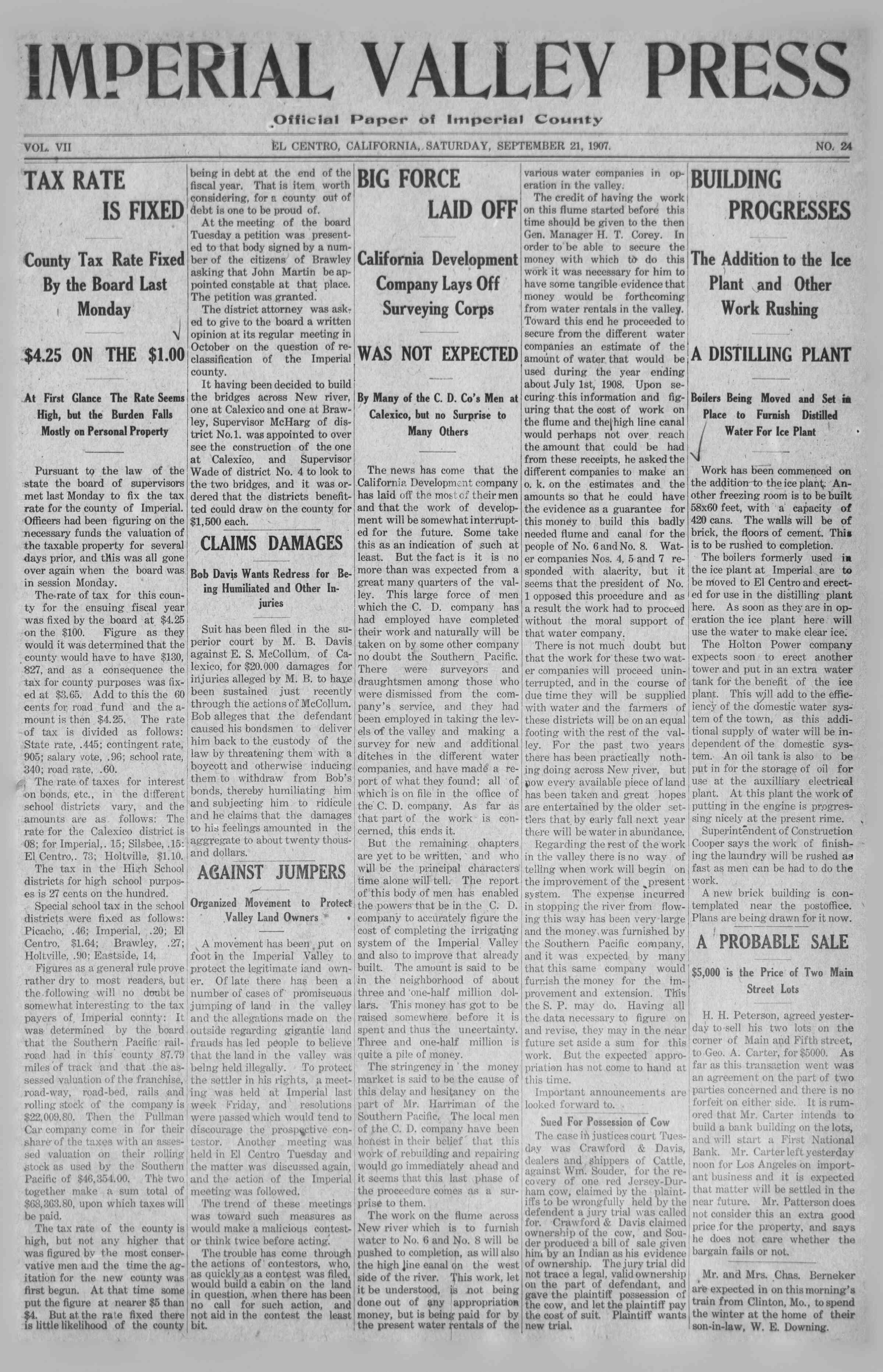 21 Eylül 1907 Tarihli Imperial Valley Press Dergisi Sayfa 1