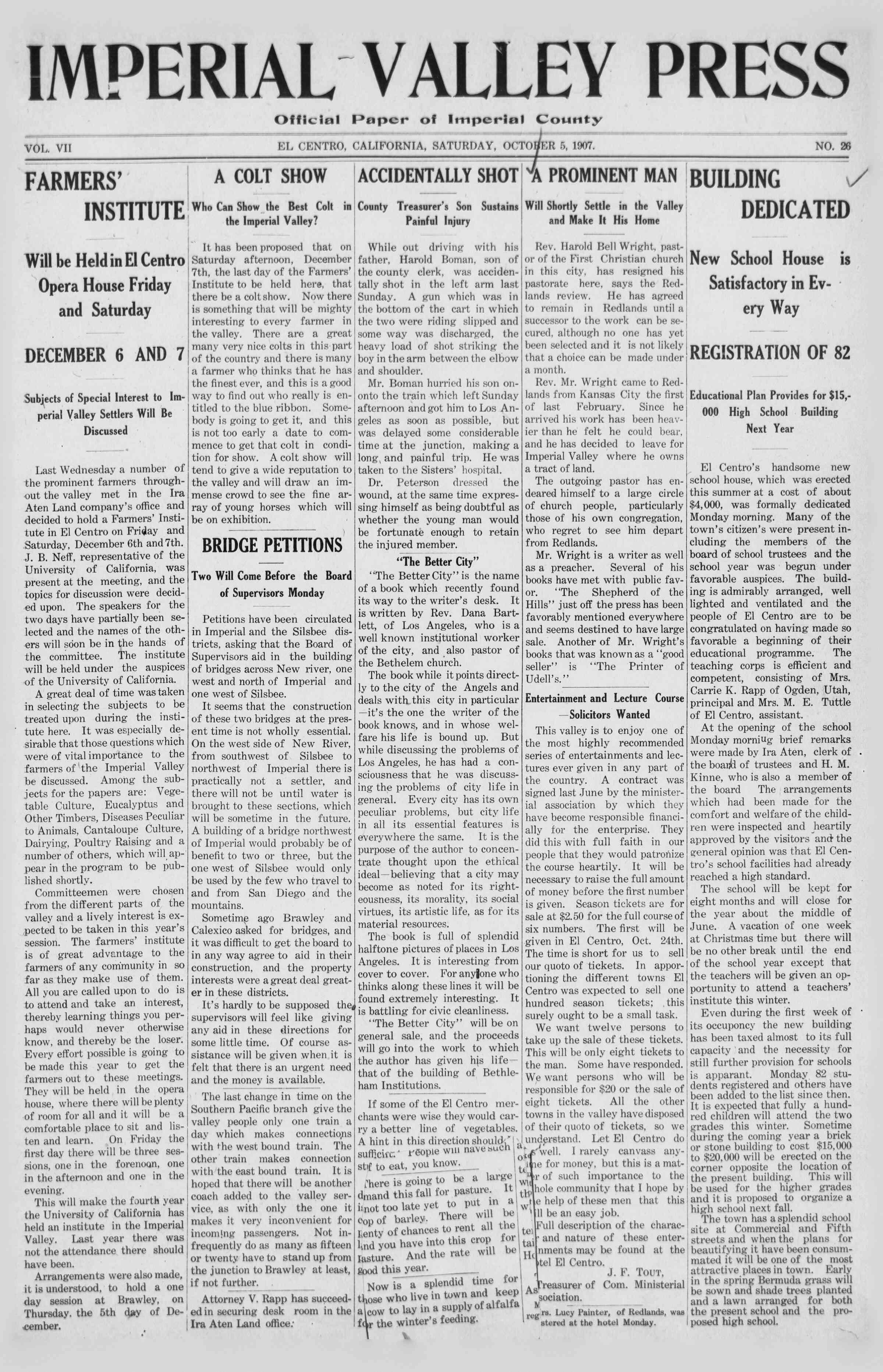 5 Ekim 1907 Tarihli Imperial Valley Press Dergisi Sayfa 1