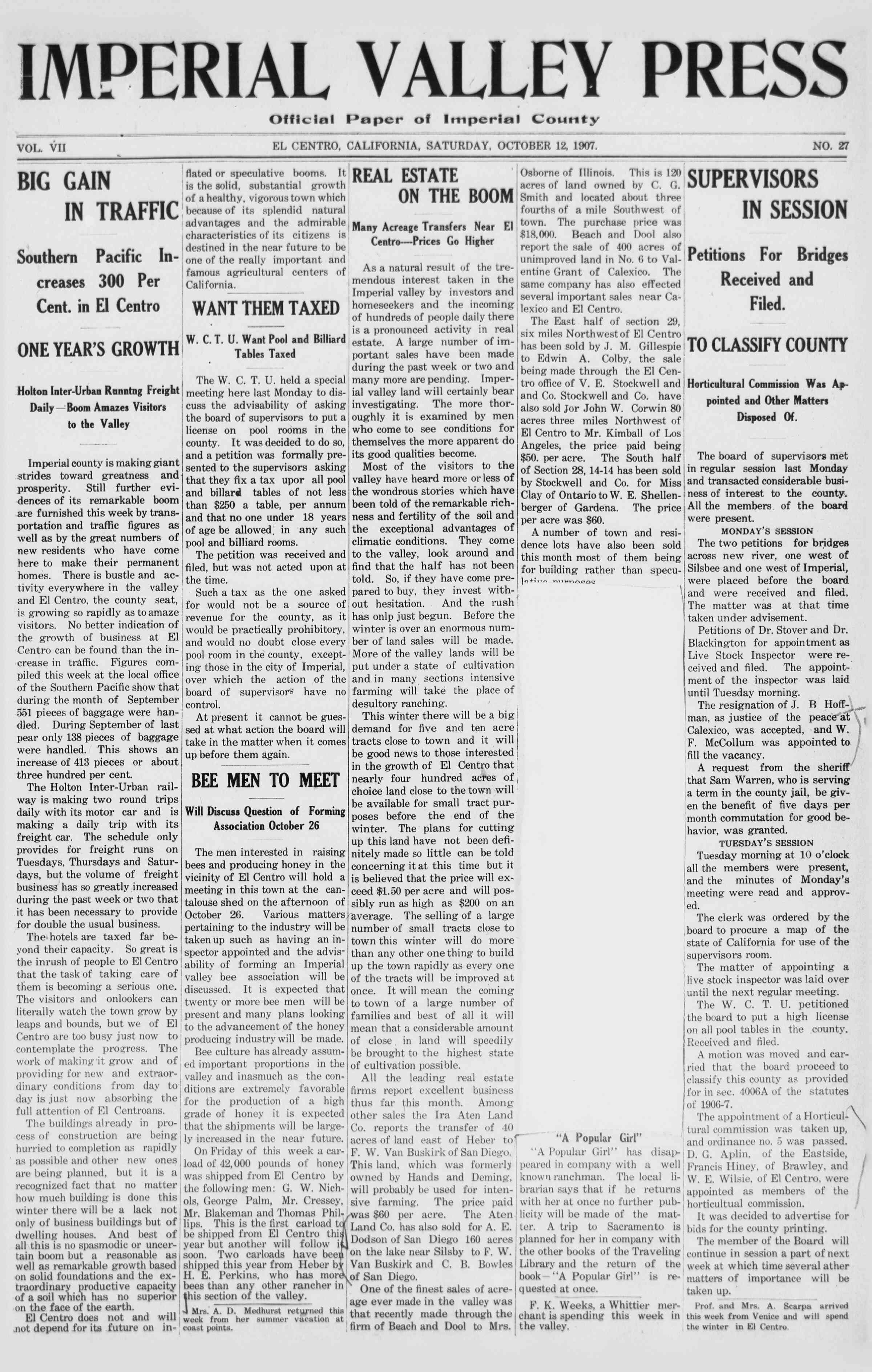 12 Ekim 1907 Tarihli Imperial Valley Press Dergisi Sayfa 1
