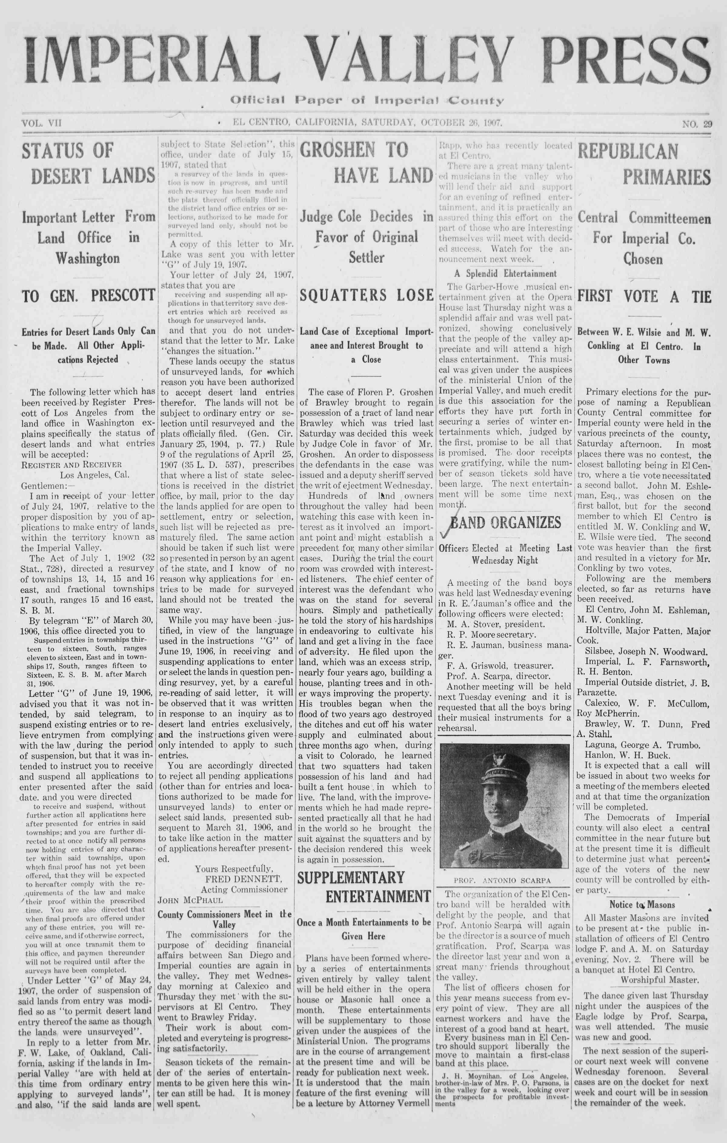 26 Ekim 1907 Tarihli Imperial Valley Press Dergisi Sayfa 1