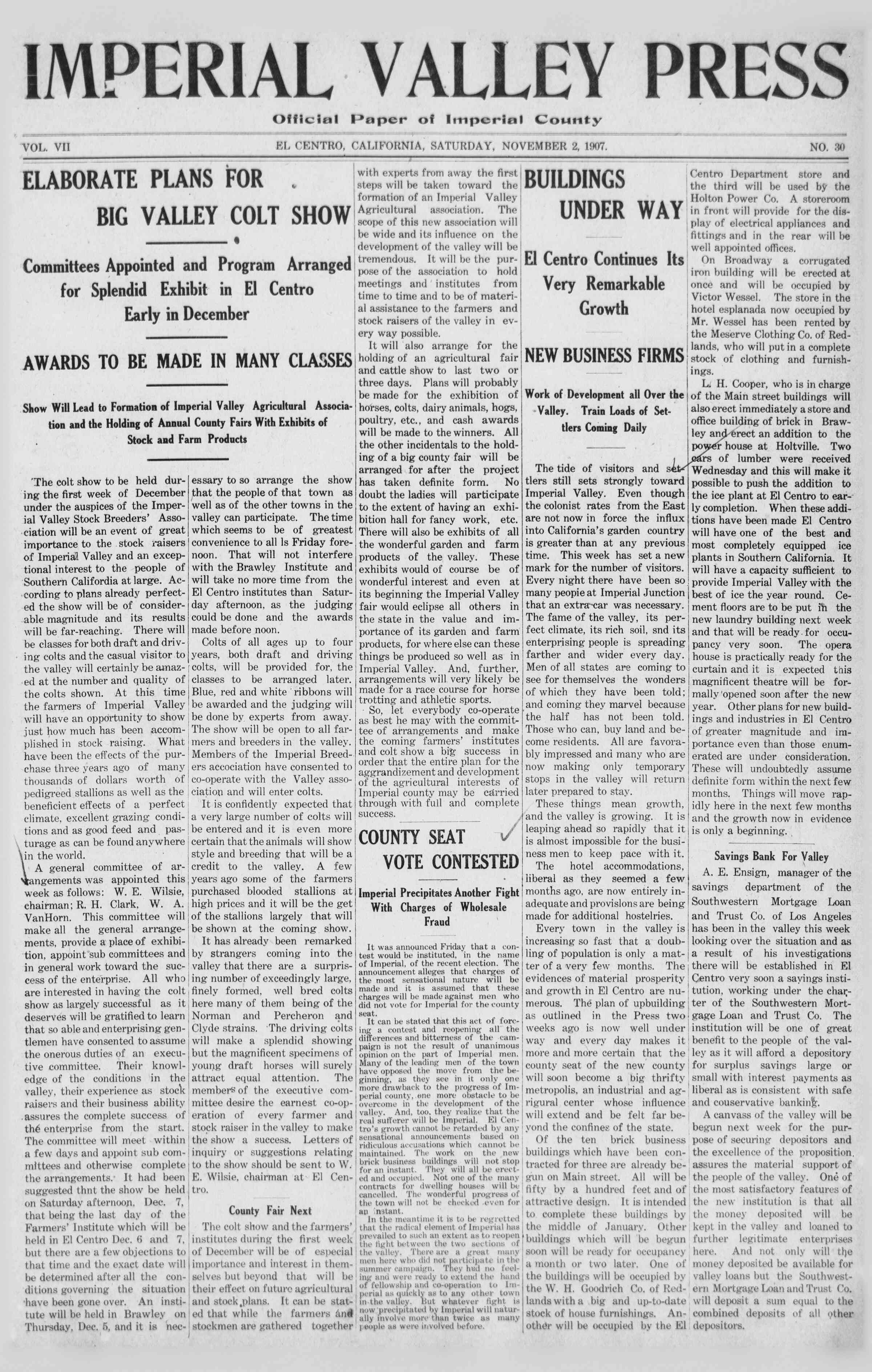 November 2, 1907 Tarihli Imperial Valley Press Dergisi Sayfa 1