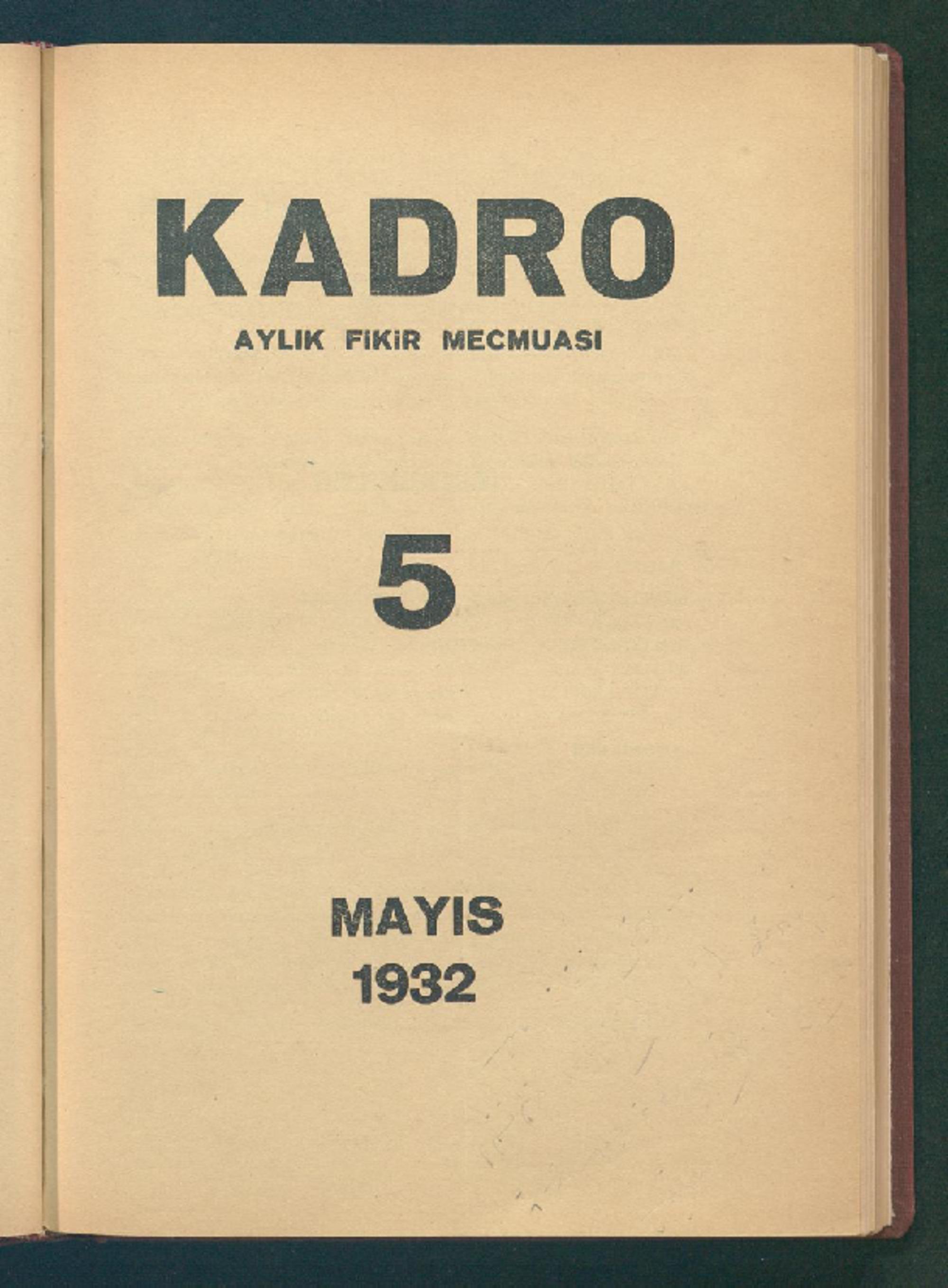1 Mayıs 1932 Tarihli Kadro Dergisi Sayfa 1