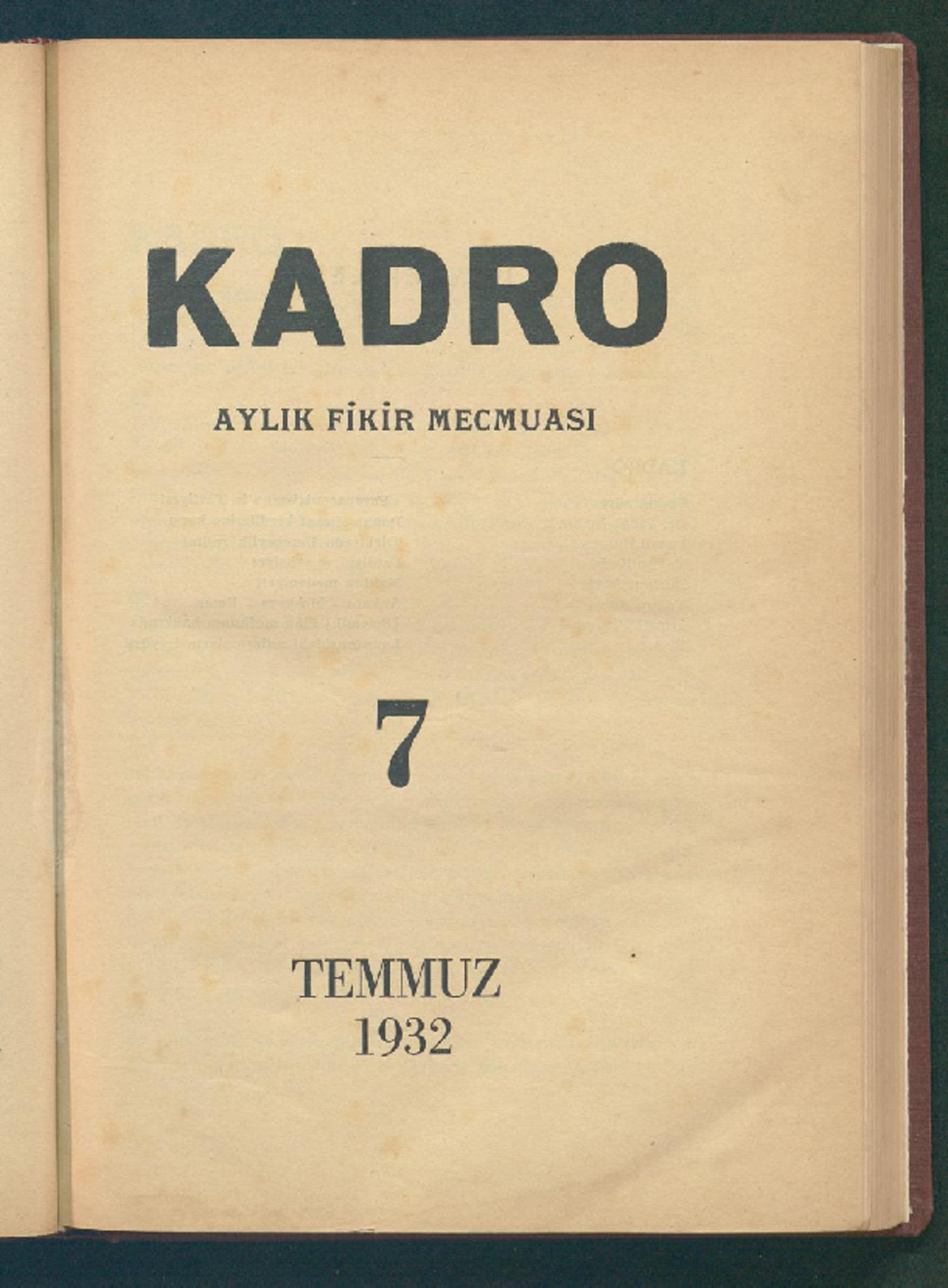 1 Temmuz 1932 Tarihli Kadro Dergisi Sayfa 1