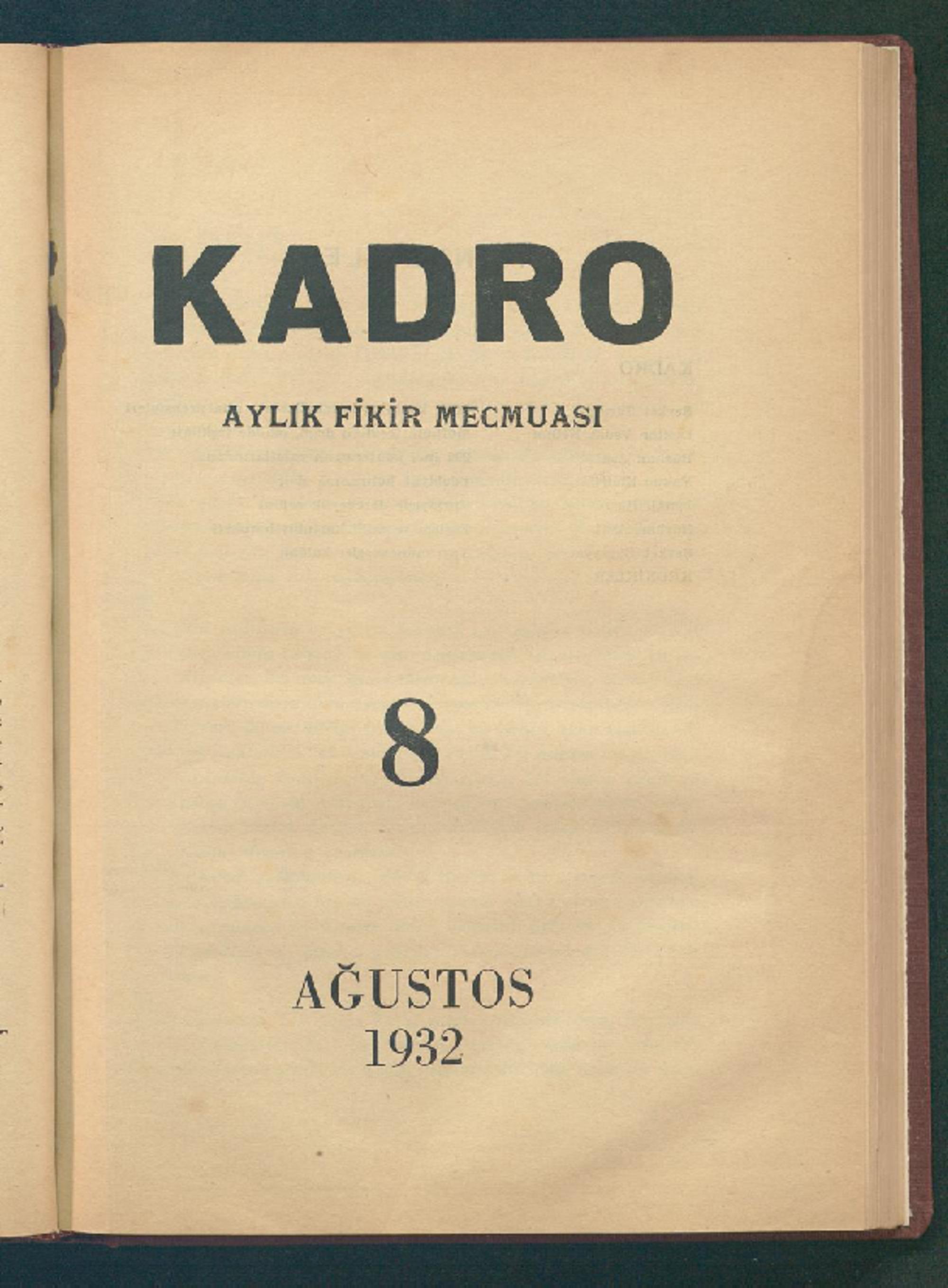 1 Ağustos 1932 Tarihli Kadro Dergisi Sayfa 1