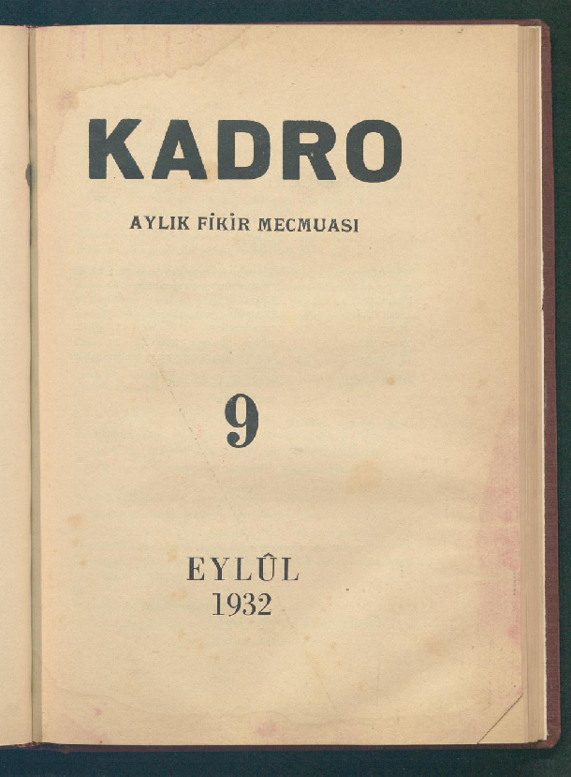 1 Eylül 1932 Tarihli Kadro Dergisi Sayfa 1