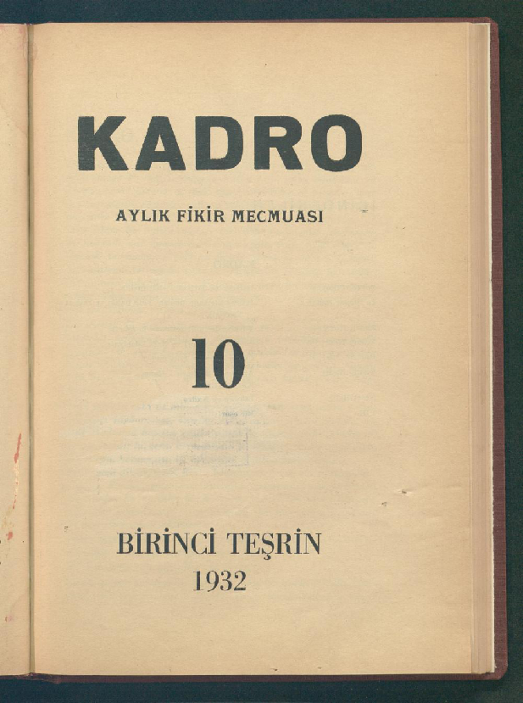 1 Ekim 1932 Tarihli Kadro Dergisi Sayfa 1