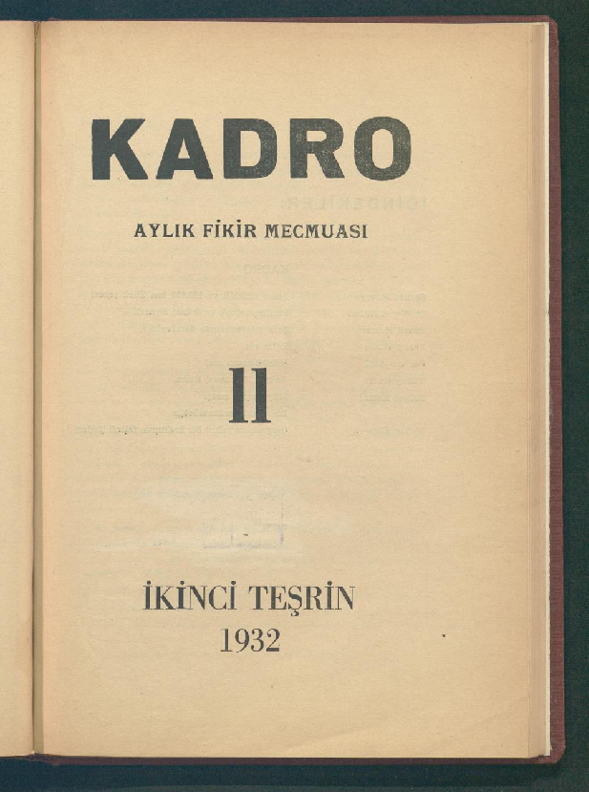 1 Kasım 1932 Tarihli Kadro Dergisi Sayfa 1