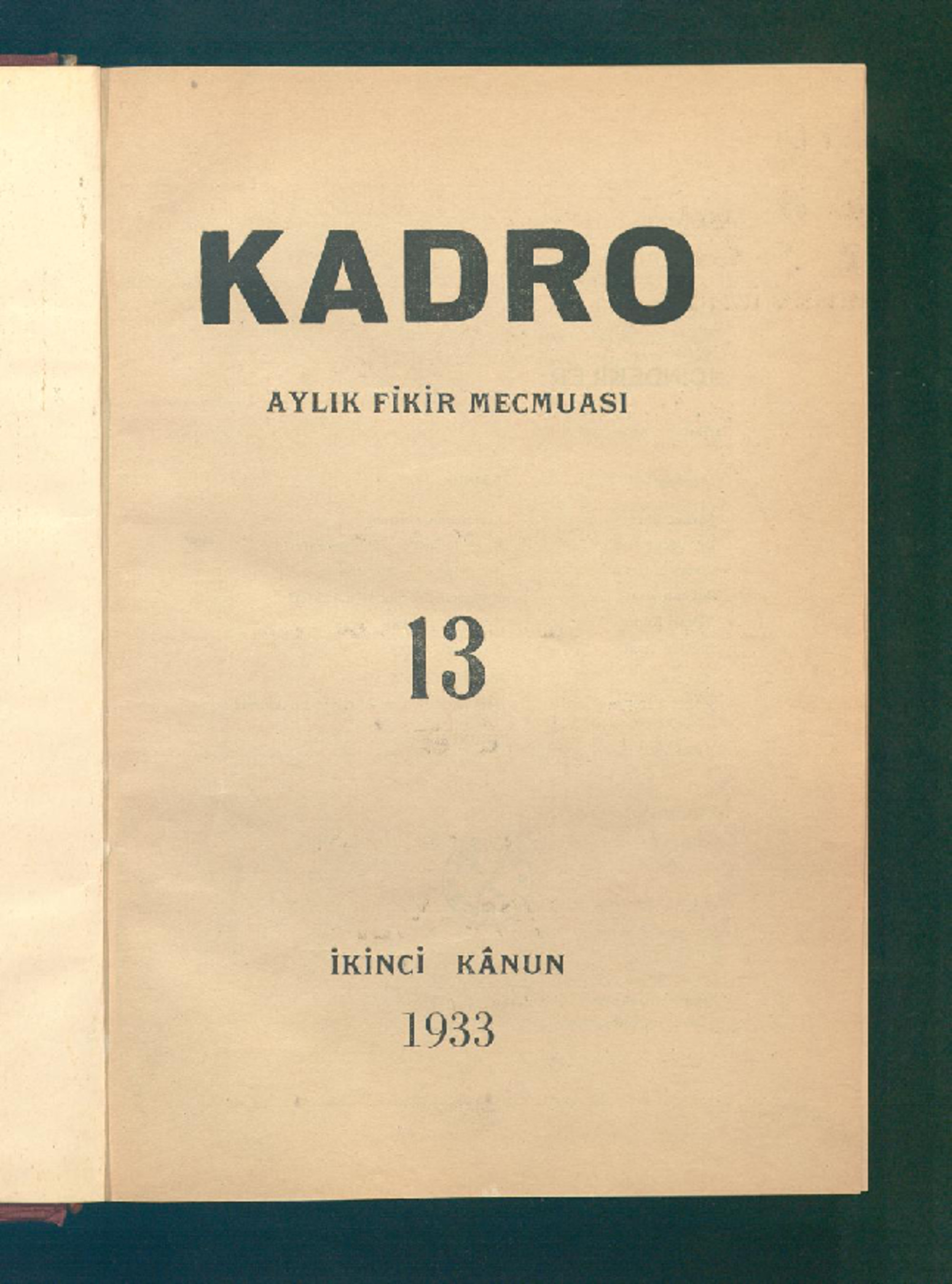 1 Ocak 1933 Tarihli Kadro Dergisi Sayfa 1