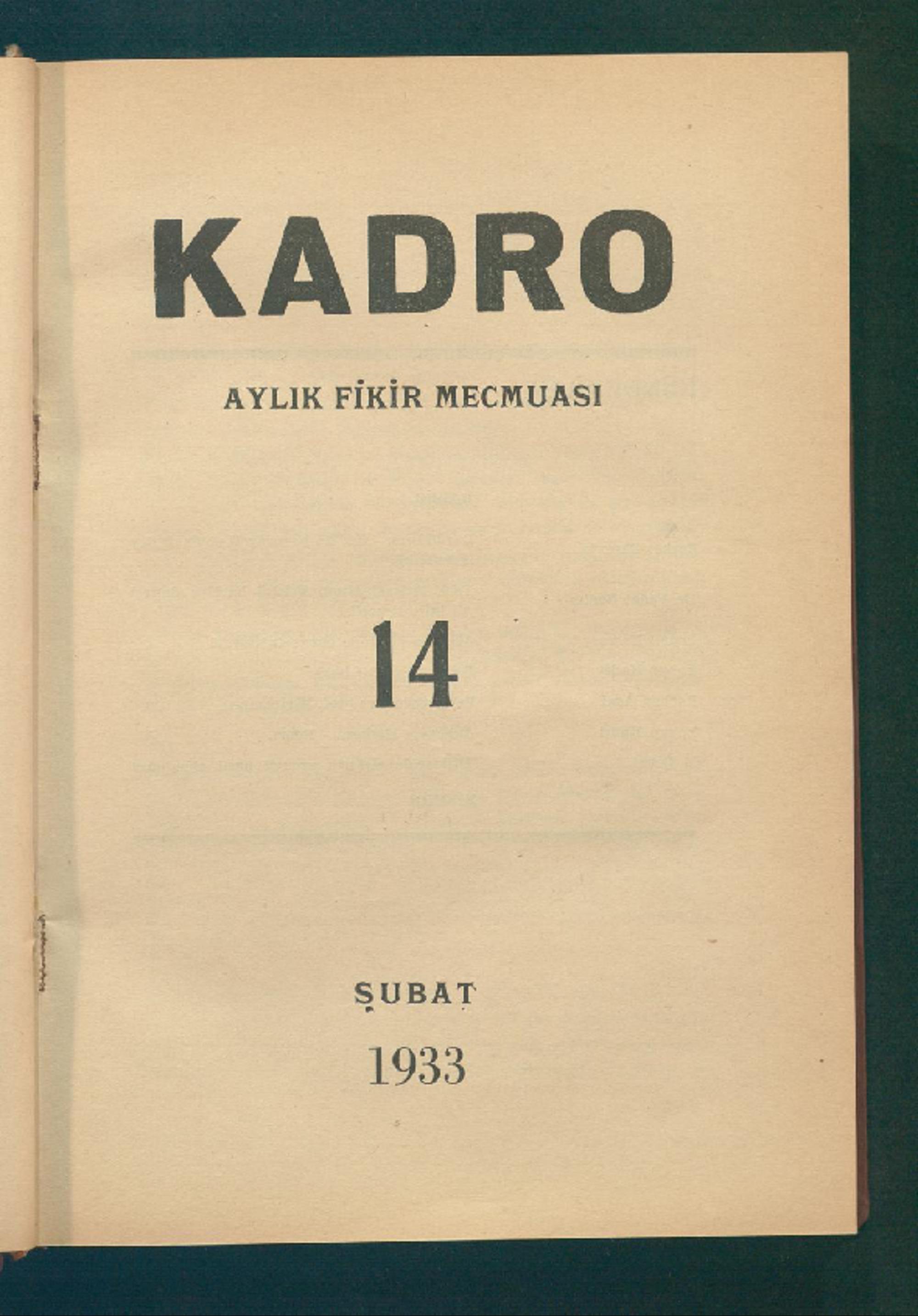 1 Şubat 1933 Tarihli Kadro Dergisi Sayfa 1