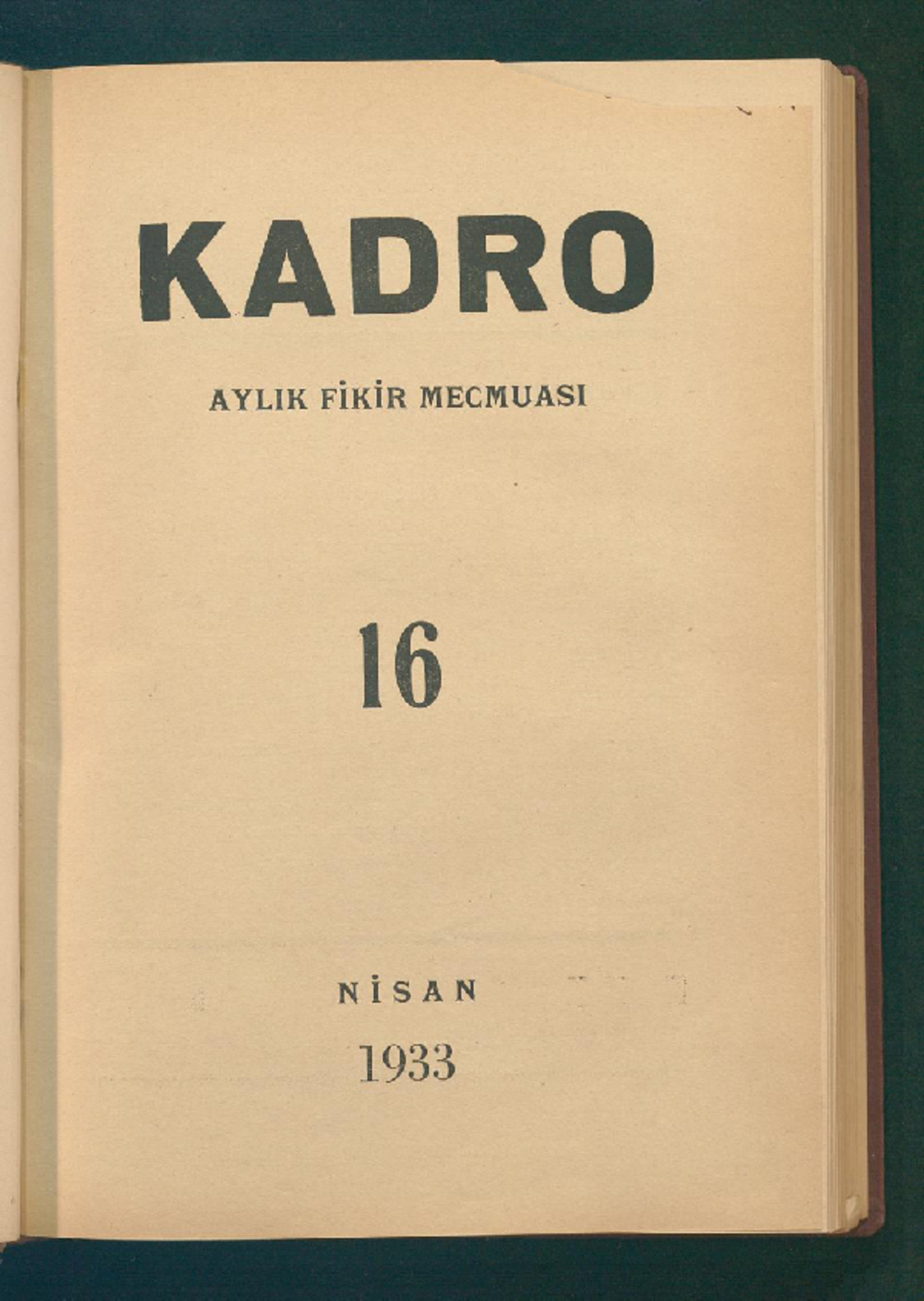 1 Nisan 1933 Tarihli Kadro Dergisi Sayfa 1